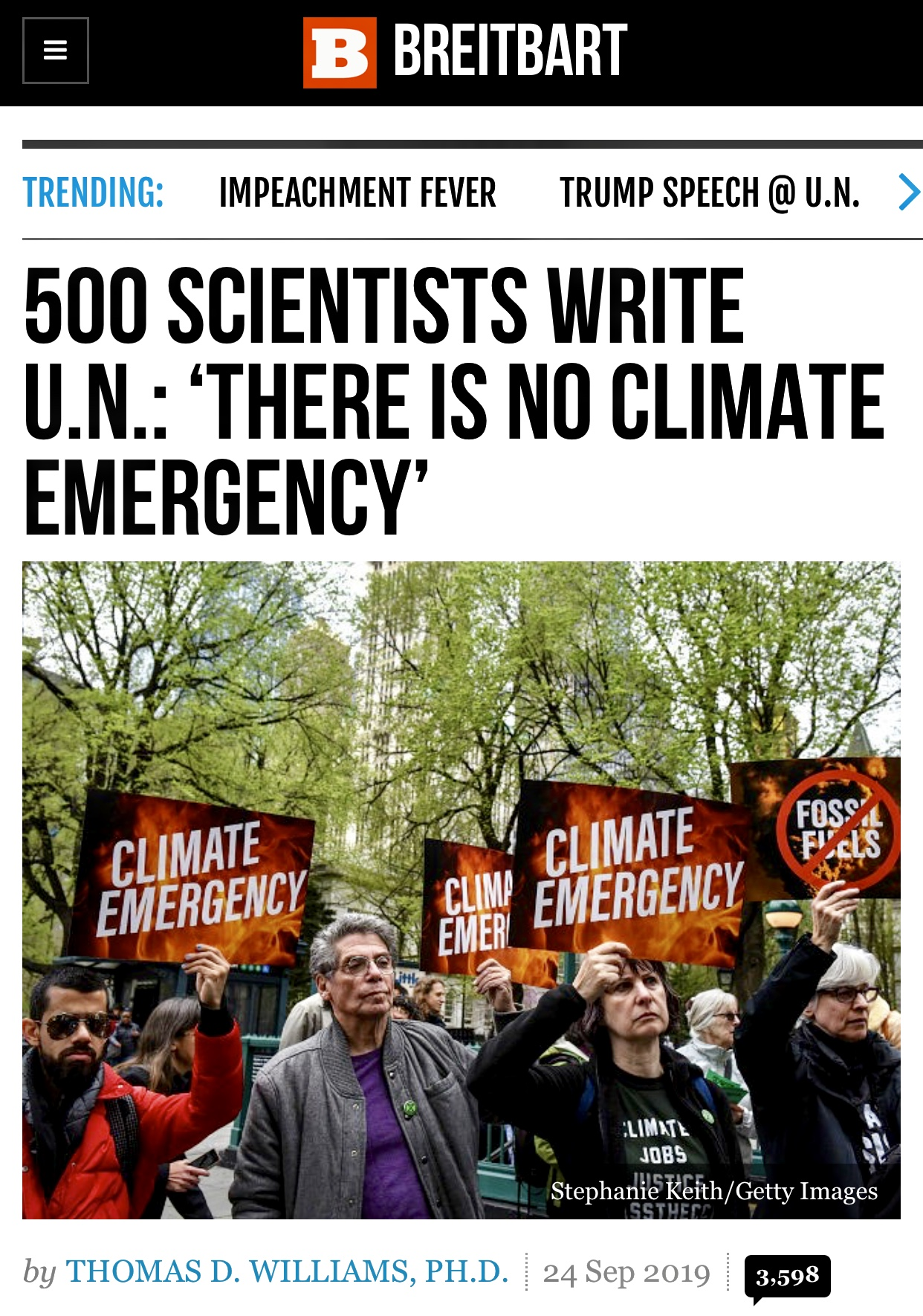 500 Scientists Write U.N: 'There Is No Climate Emergency'