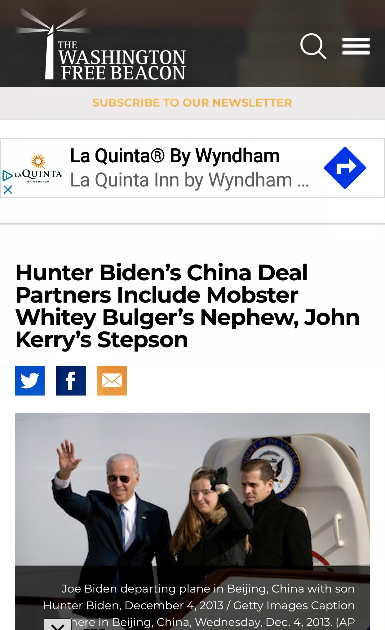 Hunter Biden's China Deal Partners Include Mobster Whitey Bulger's Nephew, John Kerry's Stepson – Washington Free Beacon