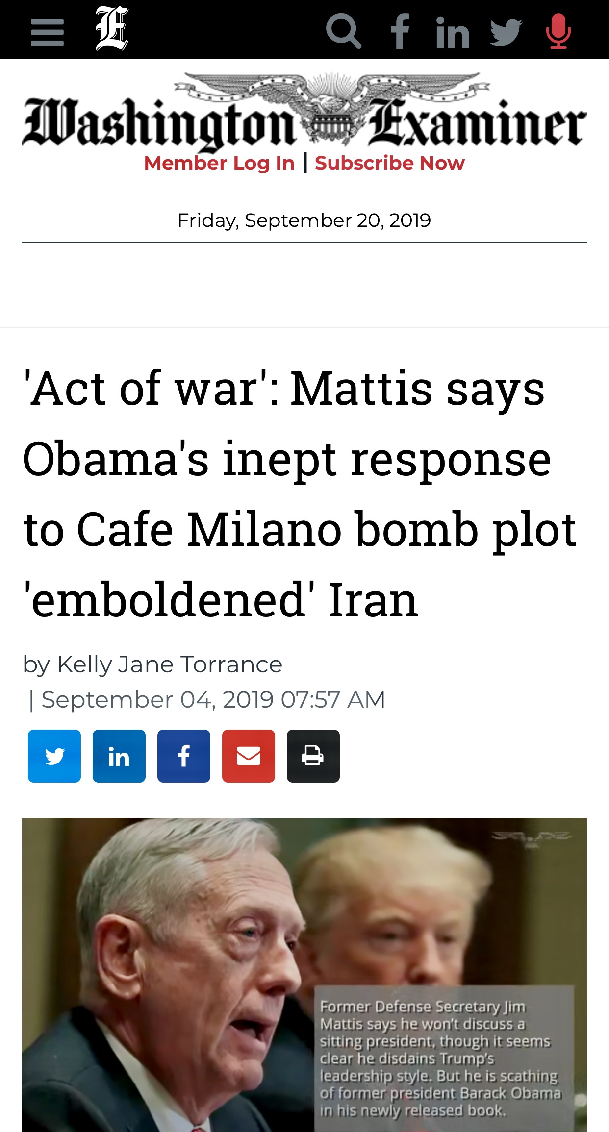 'Act of war': Mattis says Obama's inept response to Cafe Milano bomb plot 'emboldened' Iran