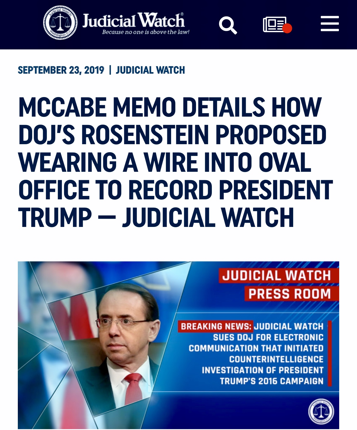 McCabe Memo Details How DOJ's Rosenstein Proposed Wearing a Wire into Office to Record President Trump