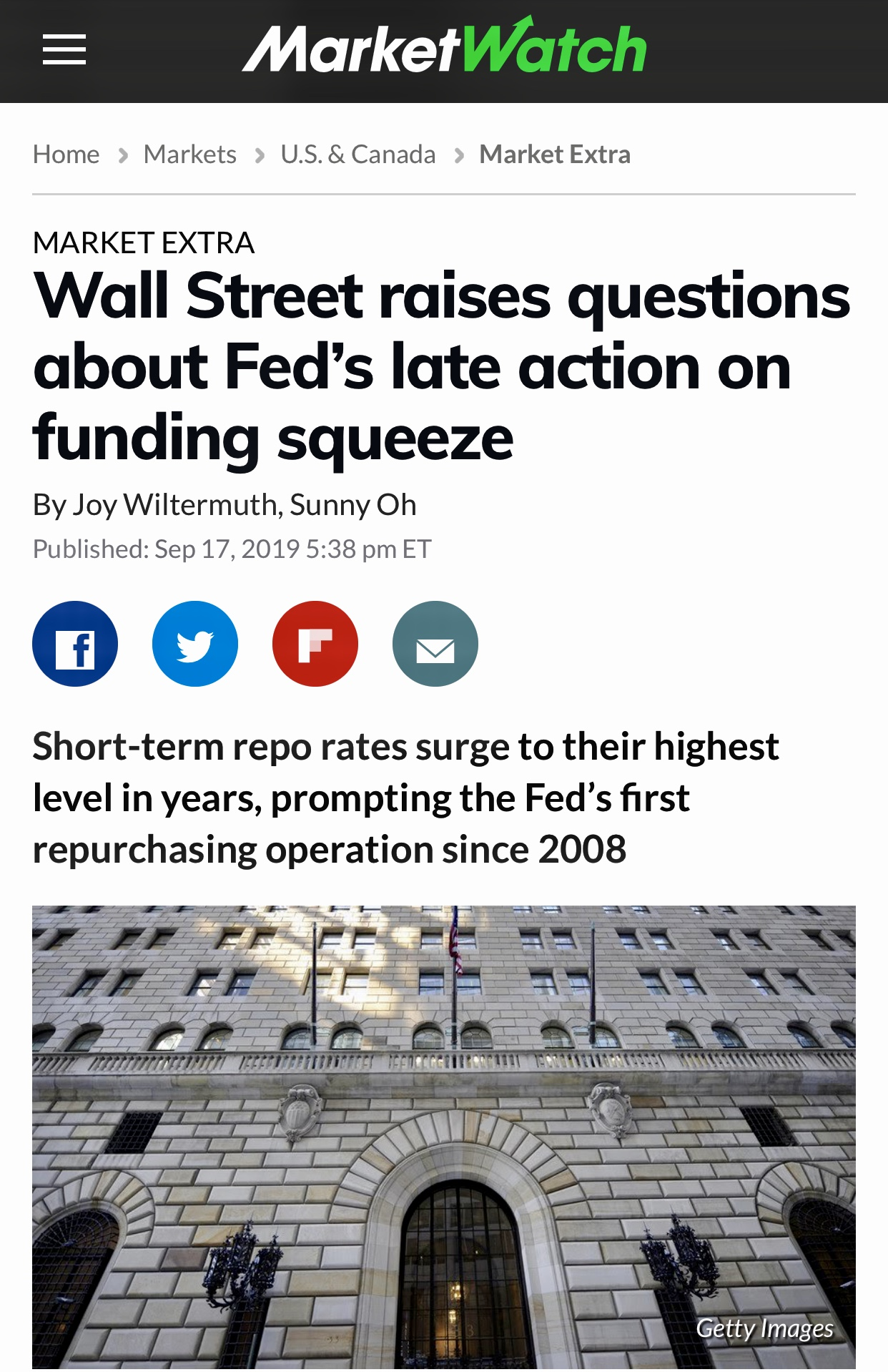 Wall Street raises questions about Fed's late action on funding squeeze – MarketWatch