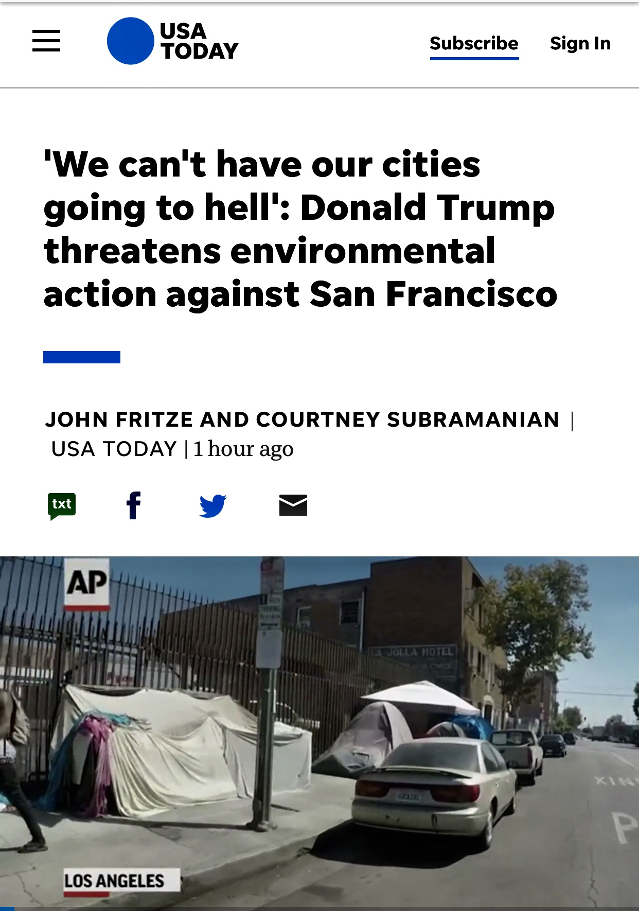 'Cities Going to Hell': Trump's EPA to Put San Francisco on Notice for Homelessness