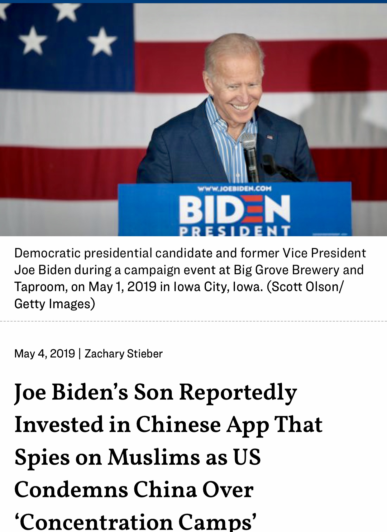Joe Biden's Son Reportedly Invested in Chinese App That Spies on Muslims as US Condemns China Over 'Concentration Camps'