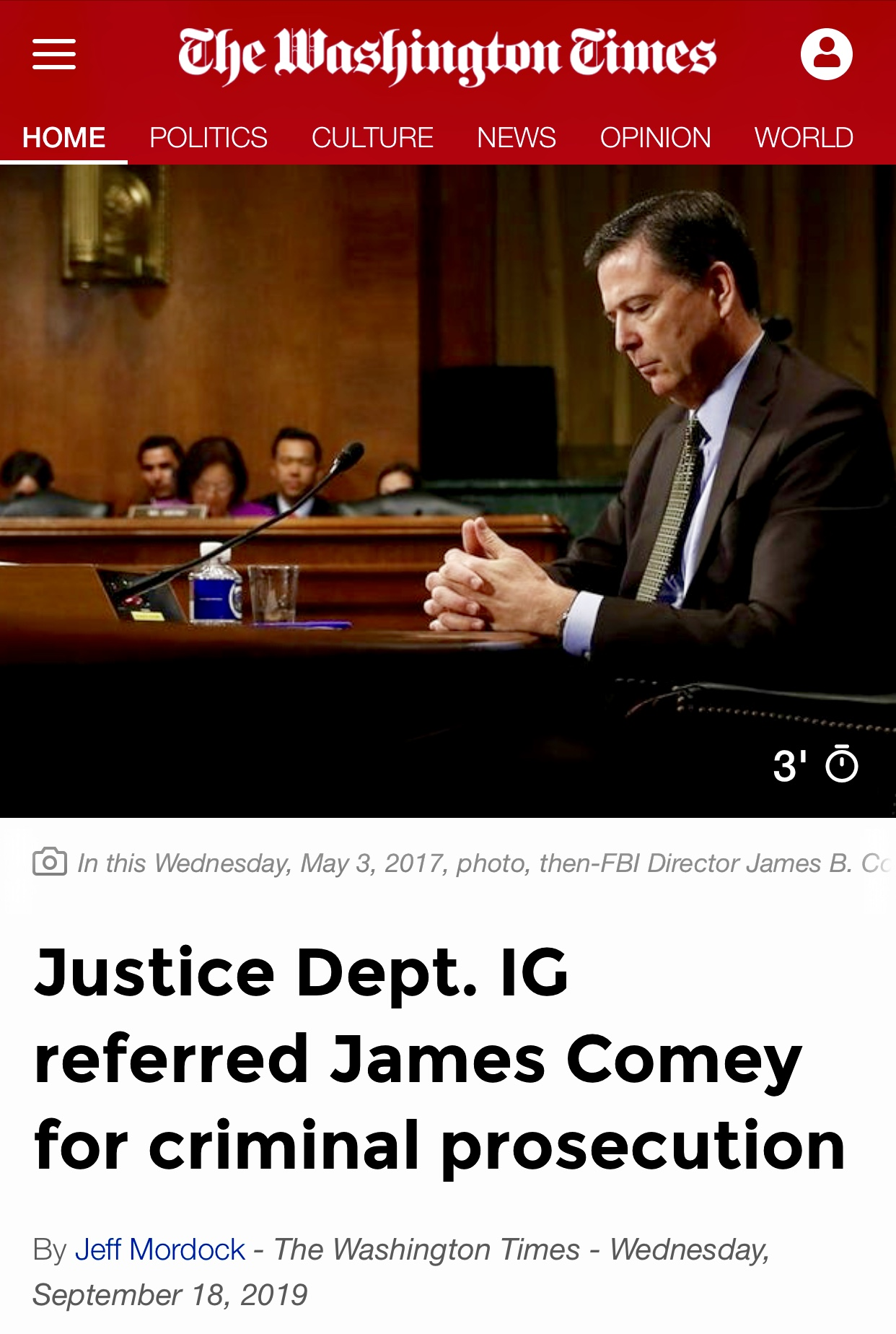 James Comey referred for criminal prosecution by Justice Department IG – Washington Times