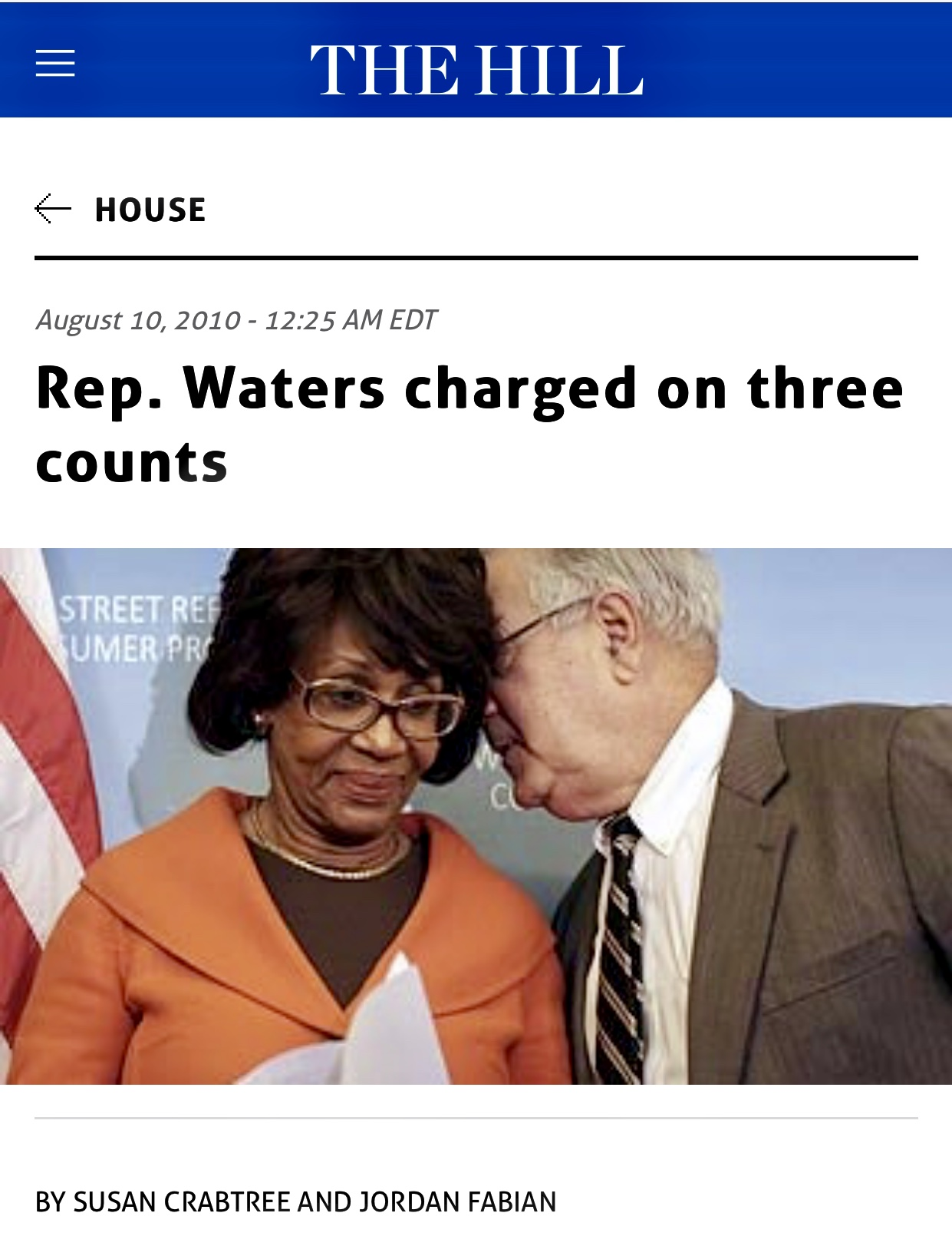 Rep. Maxine Waters charged on three counts | The Hill 1938 Reads