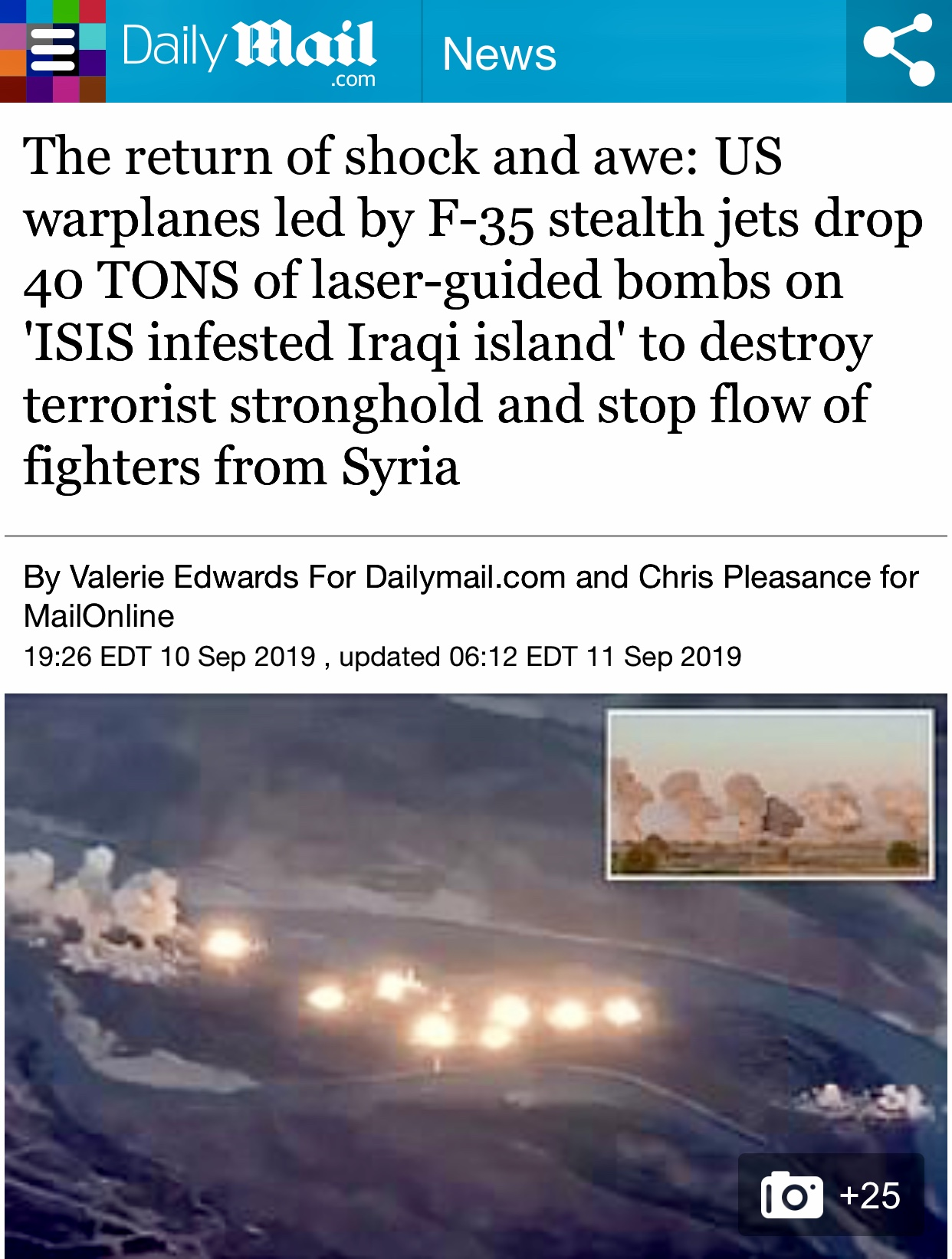 US warplanes drop 40 tons of bombs on ISIS-infested island along Tigris River | Daily Mail Online