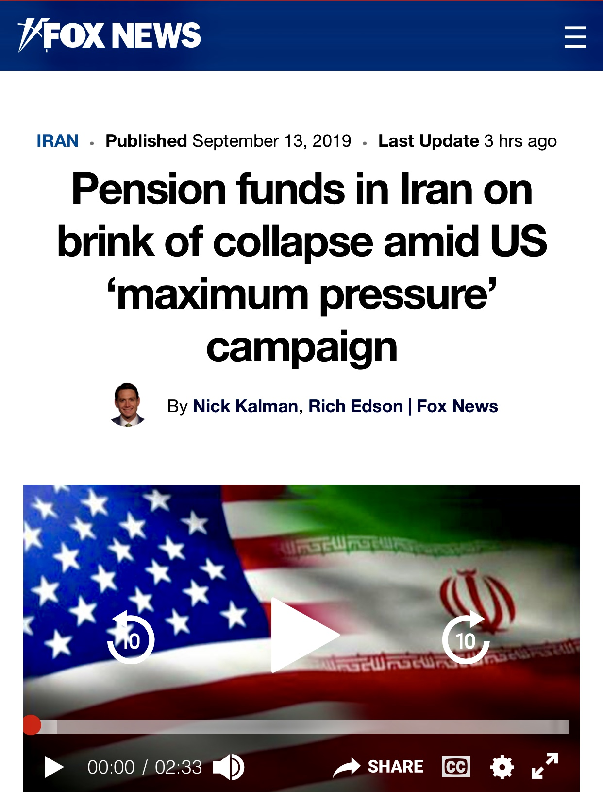 Pension funds in Iran on brink of collapse amid US 'maximum pressure' campaign | Fox News