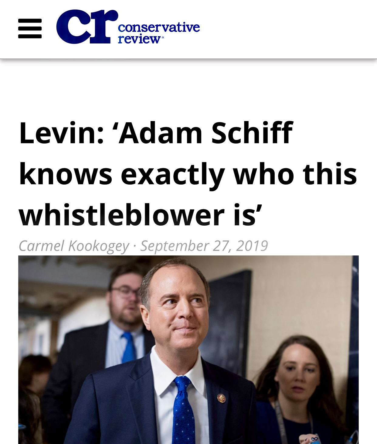Levin: 'Adam Schiff knows exactly who this whistleblower is' – Conservative Review