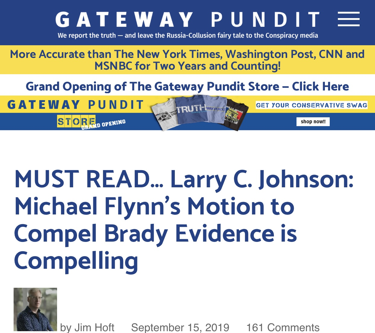 MUST READ… Larry C. Johnson: Michael Flynn's Motion to Compel Brady Evidence is Compelling
