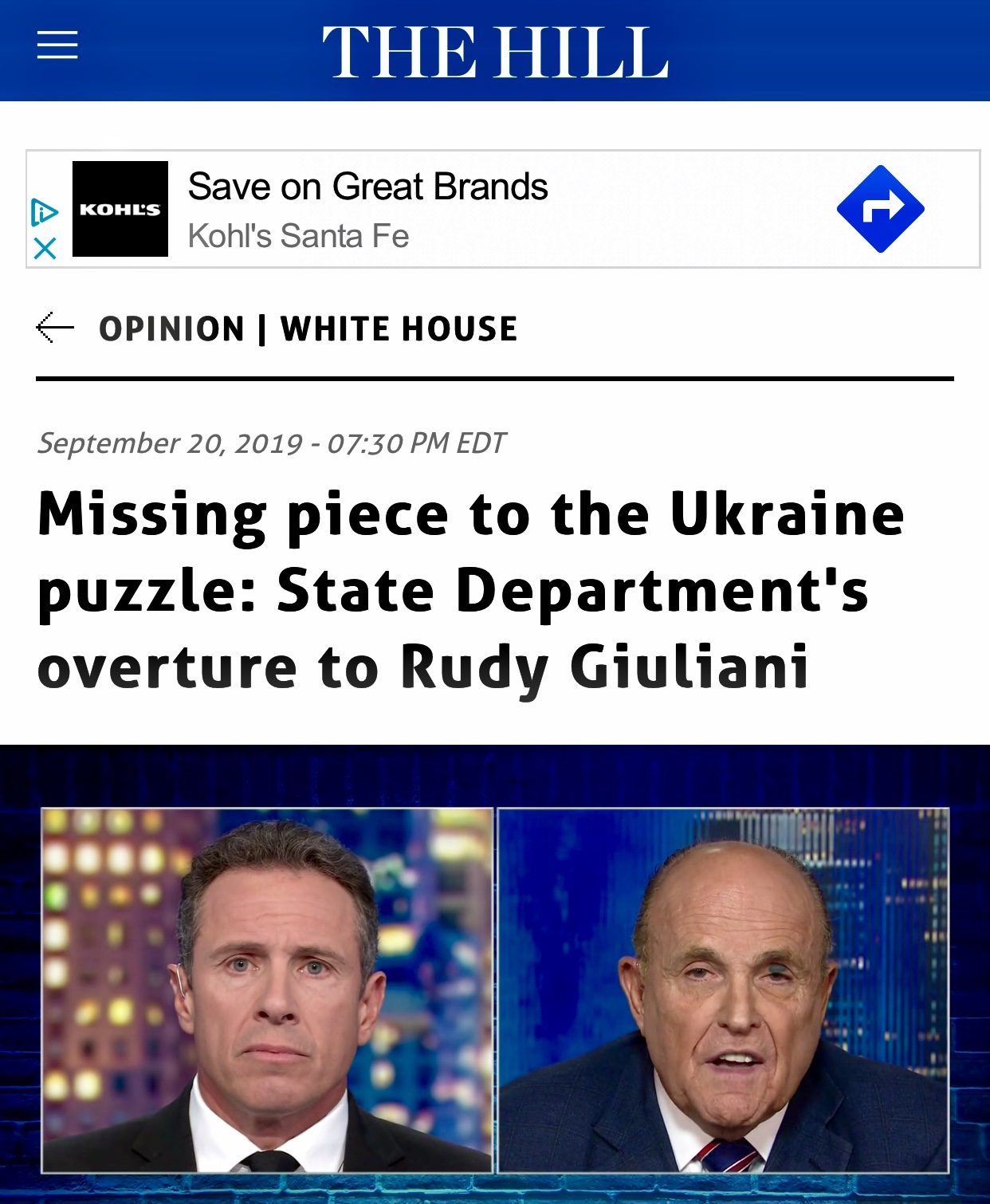 Missing Piece To The Ukraine Puzzle: State Dept Overture to Rudy Giuliani