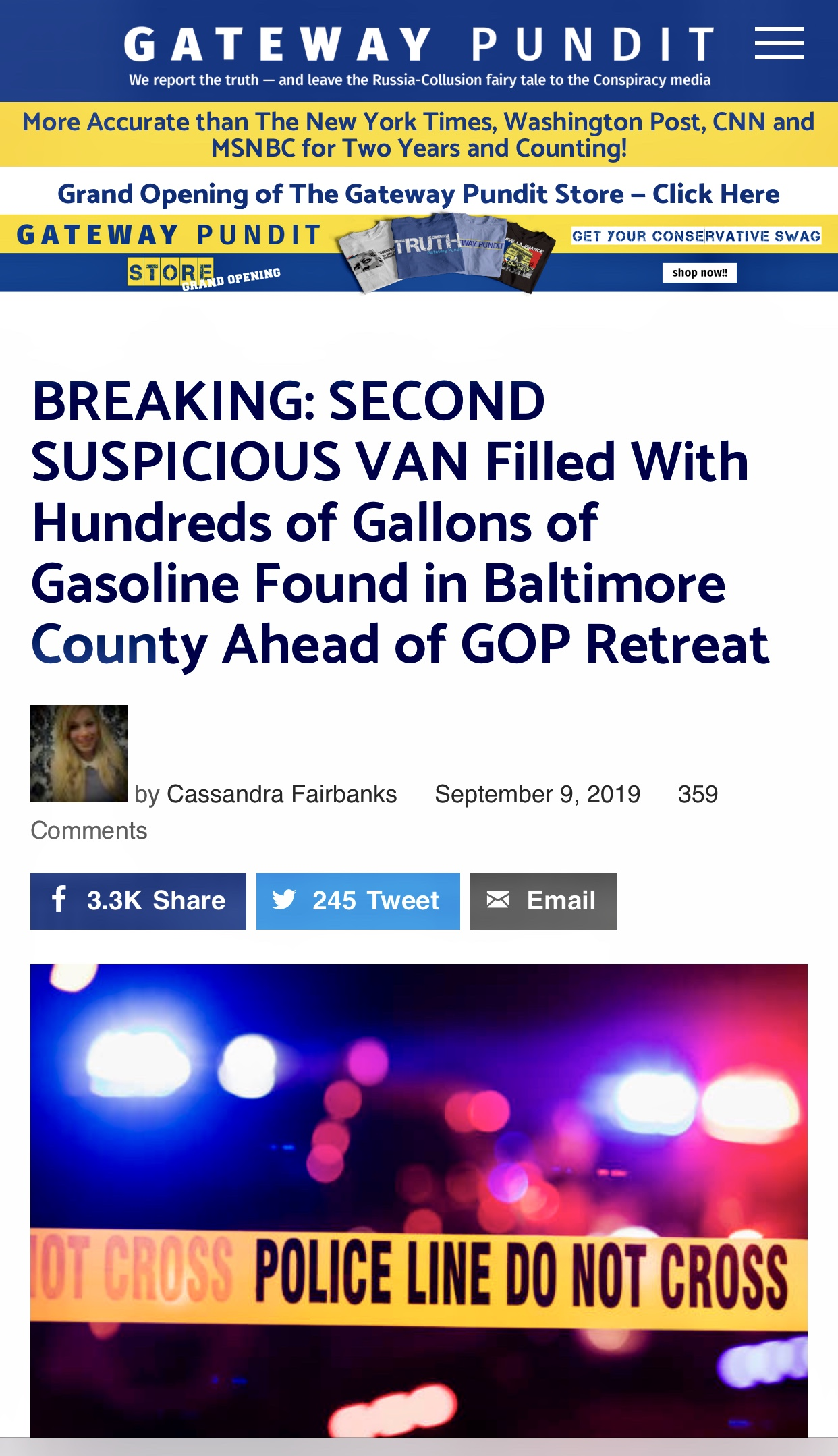 BREAKING: SECOND SUSPICIOUS VAN Filled With Hundreds of Gallons of Gasoline Found in Baltimore County Ahead of GOP Retreat