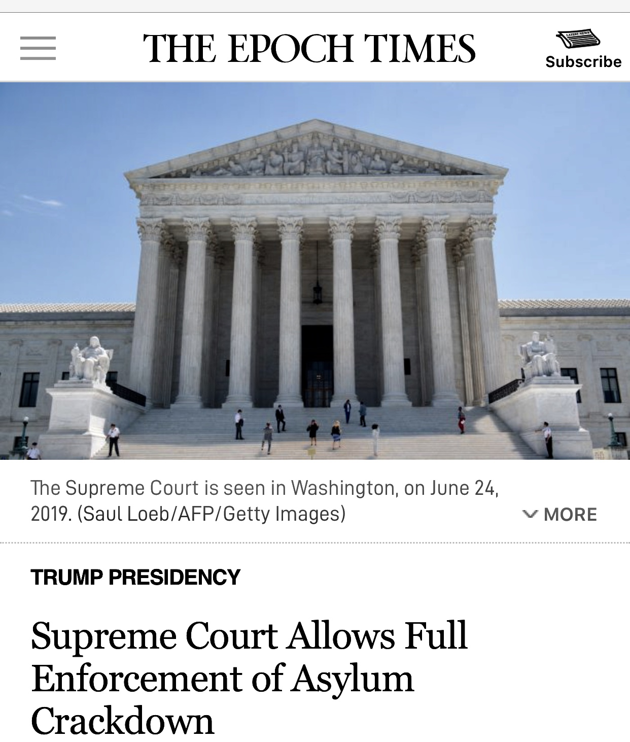 Supreme Court Allows Full Enforcement of Asylum Crackdown
