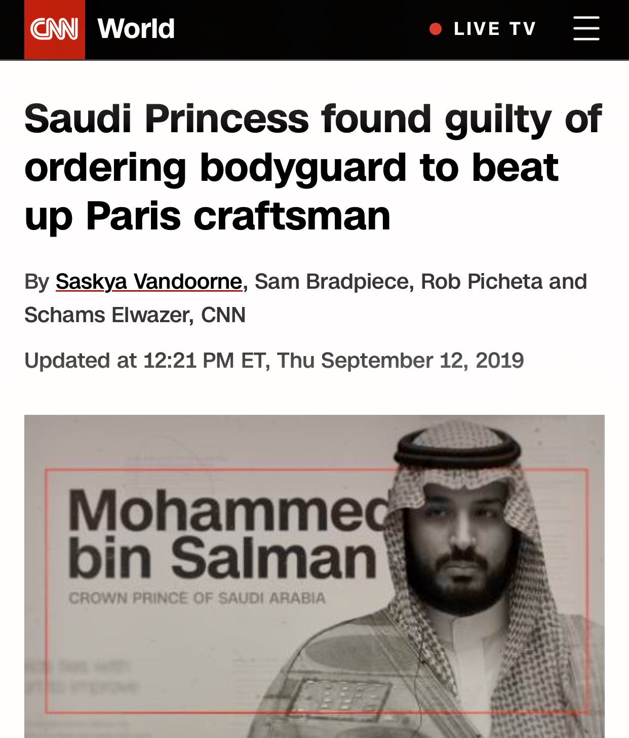 Princess Hassa bint Salman Al Saud found guilty of ordering her bodyguard to beat up a craftsman in Paris