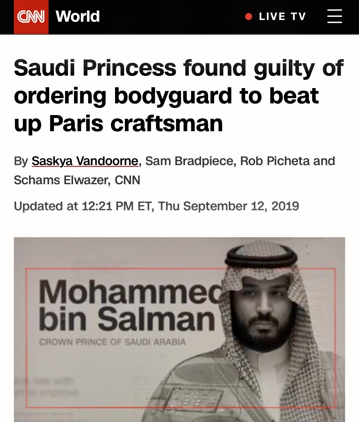 Princess Hassa bint Salman Al Saud found guilty of ordering her bodyguard to beat up a craftsman in Paris