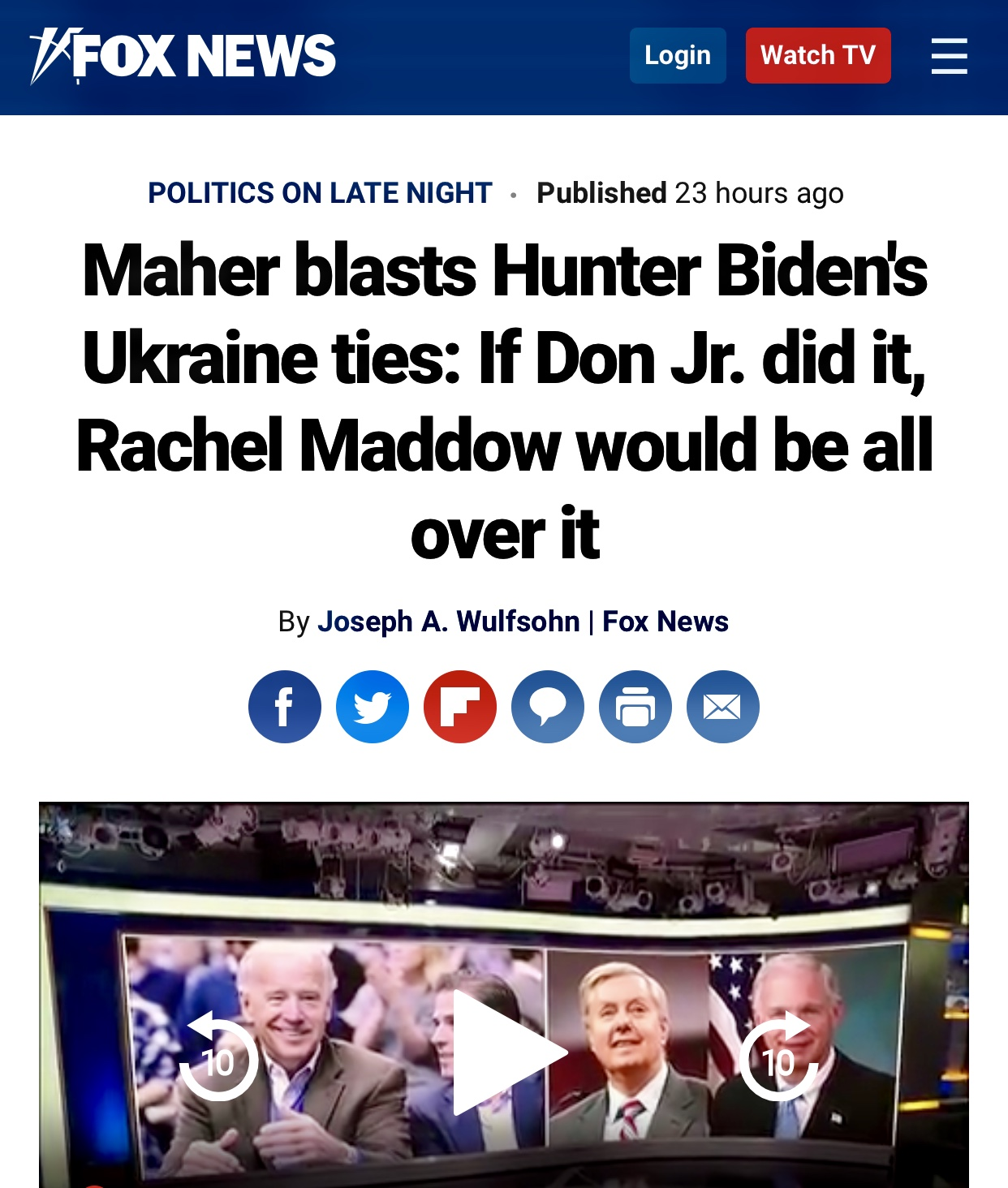 Maher Blasts Hunter Biden's Ukraine ties: If Don Jr. did it, Rachel Maddow Would Be All Over It