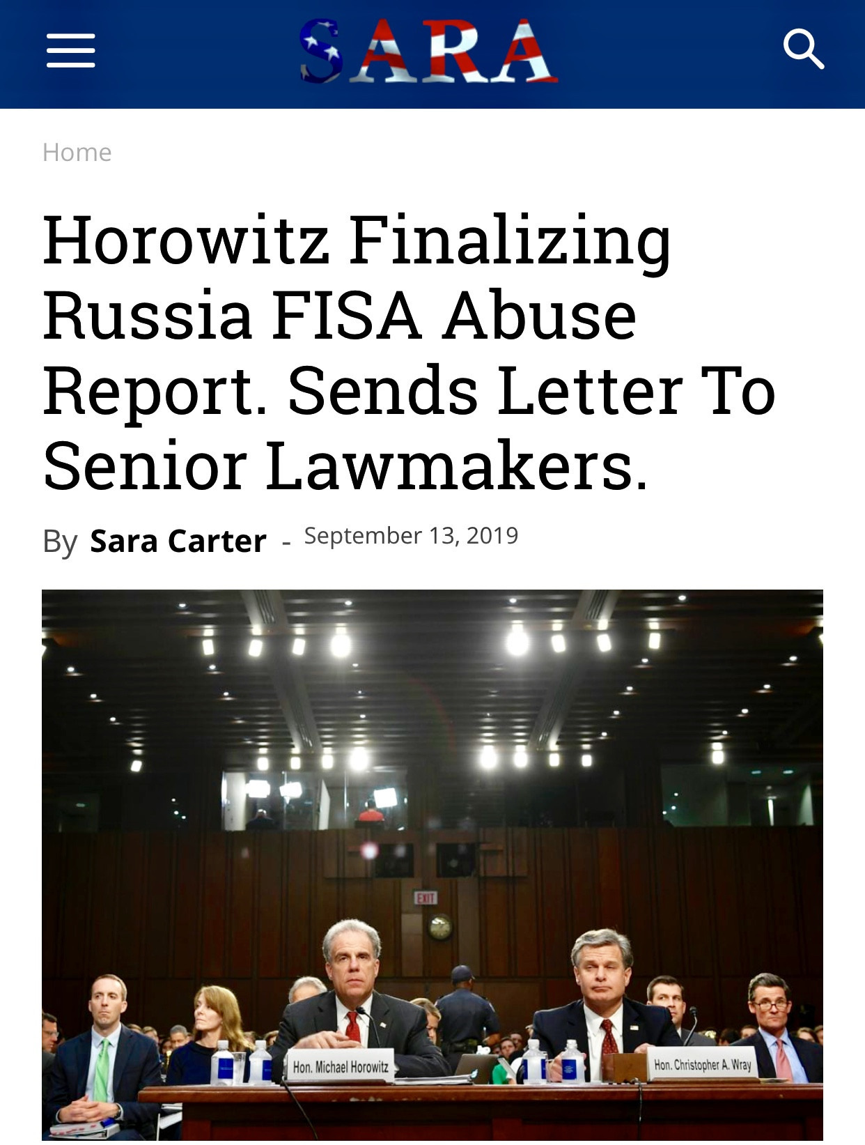 Horowitz Finalizing Russia FISA Abuse Report. Sends Letter To Senior Lawmakers. – Sara A. Carter