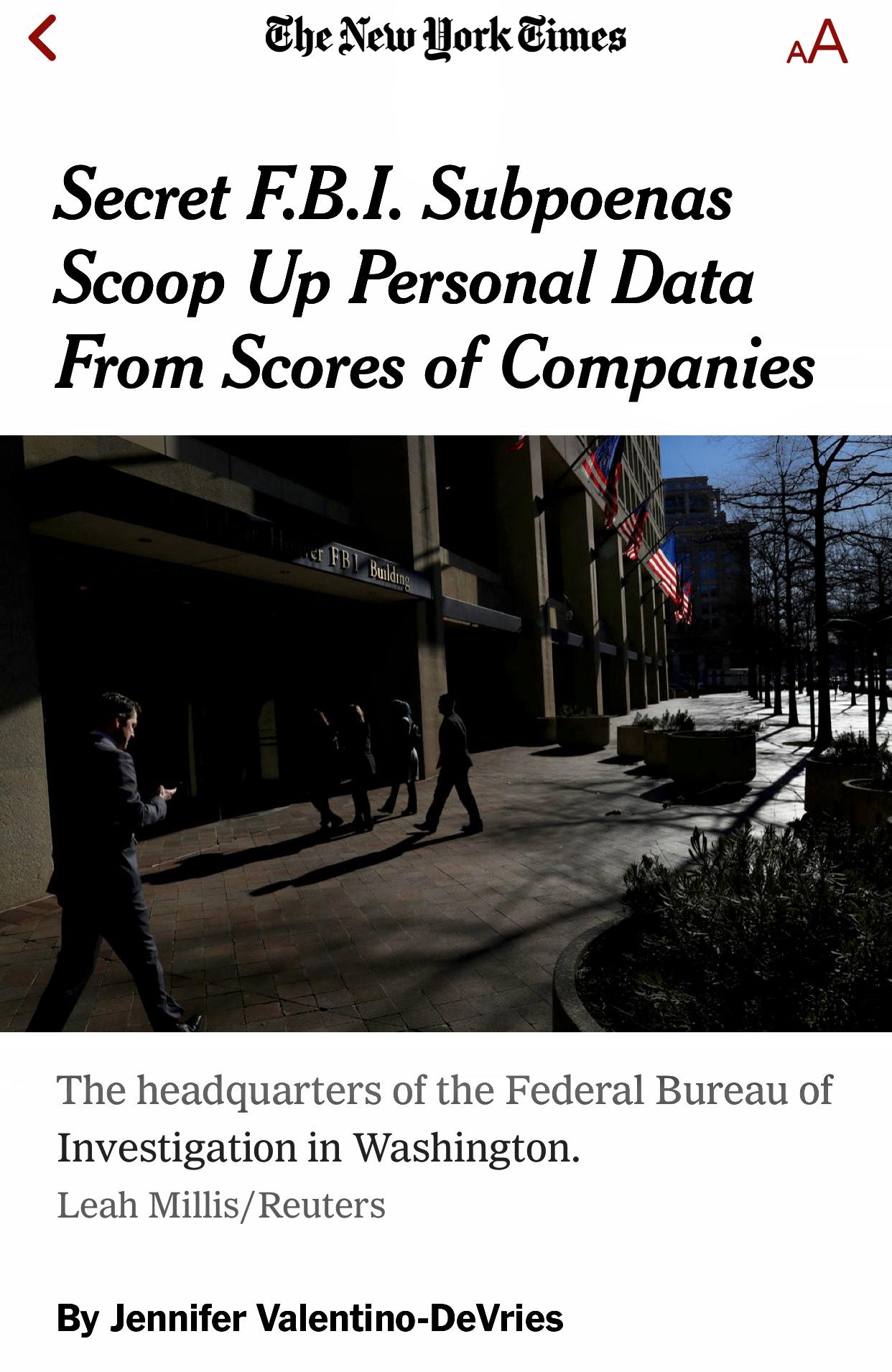 Secret FBI Subpoenas Scoop Up Personal Data From Scores of Companies