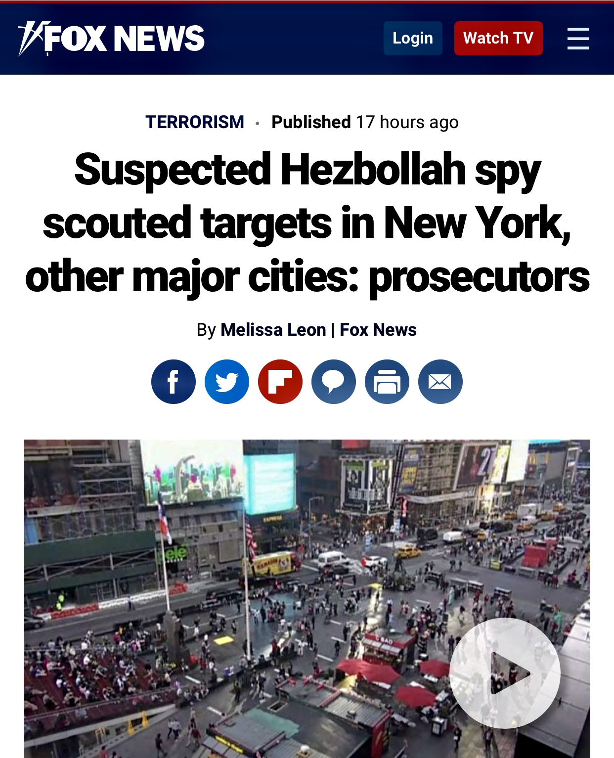 Suspected Hezbollah spy scouted targets in NY, other major cities
