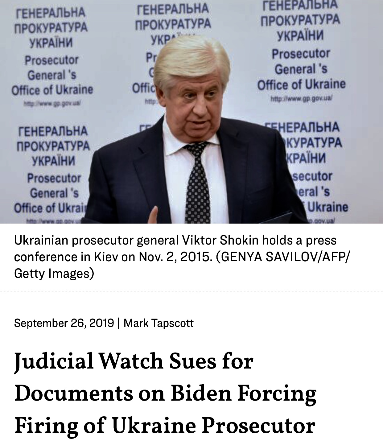 Judicial Watch Sues For Documents on Biden Forcing Firing of Ukraine Prosecutor