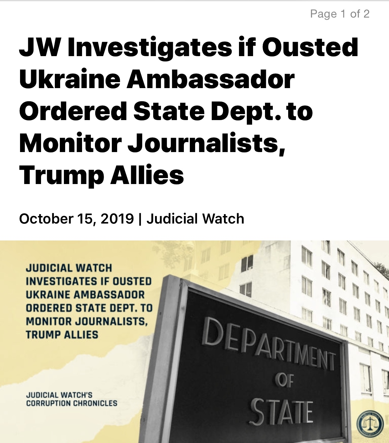JW Investigates Ousted Ukraine Ambassador Ordered State Dept. to Monitor Journalists