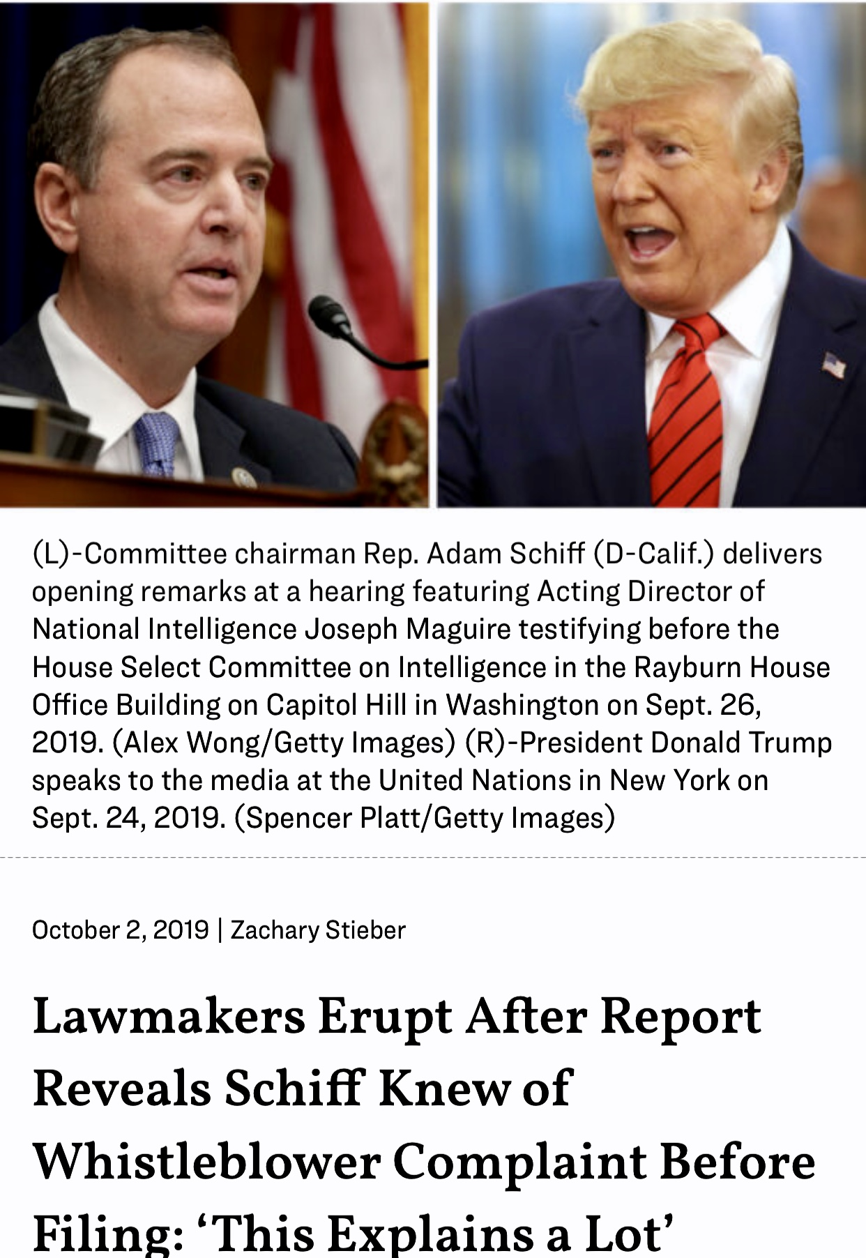 Lawmakers Erupt After Report Reveals Schiff Knew of Whistleblower Complaint Before Filing: 'This Explains a Lot'