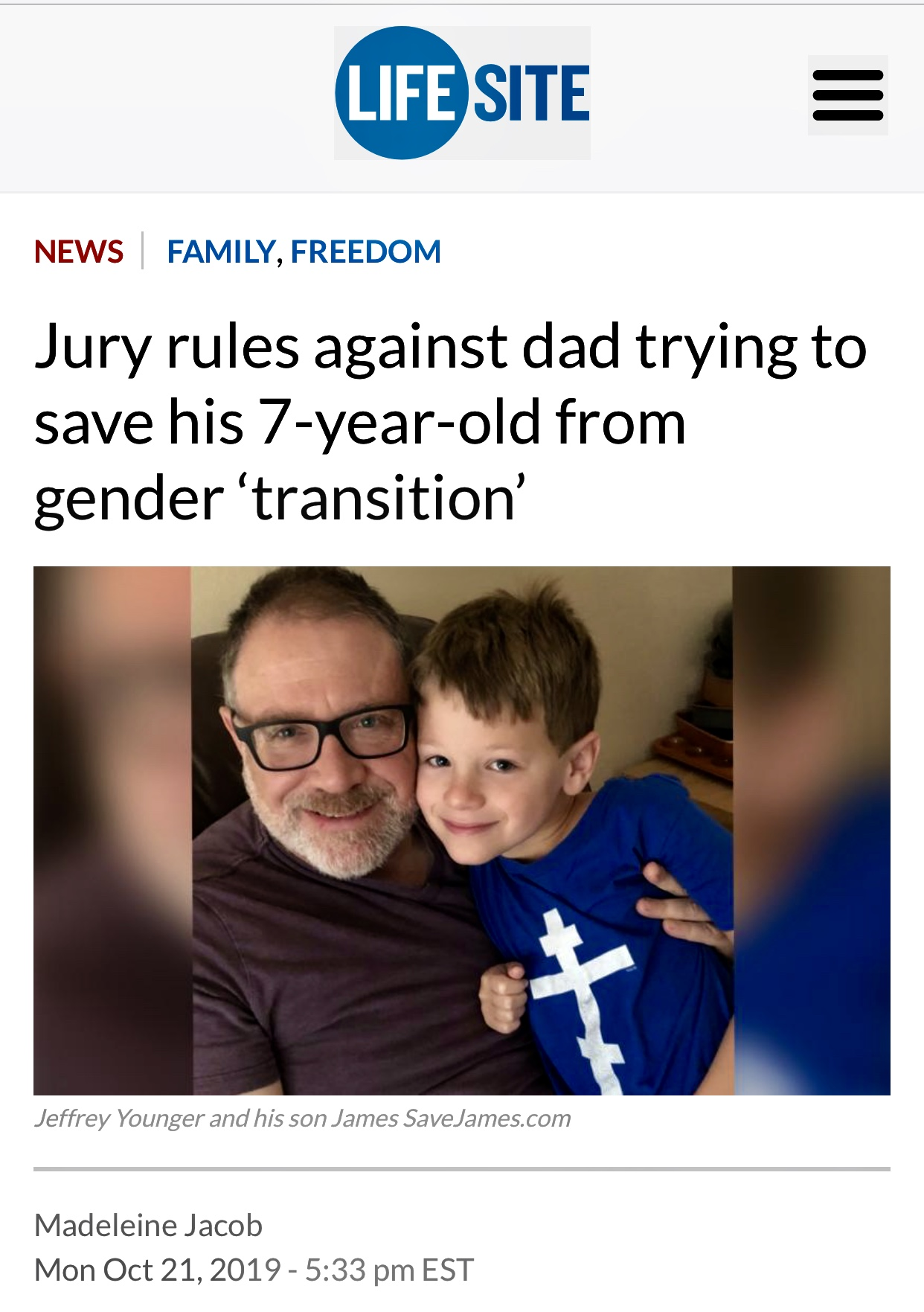 Jury rules against dad trying to save his 7-year-old from gender 'transition' | News | LifeSite