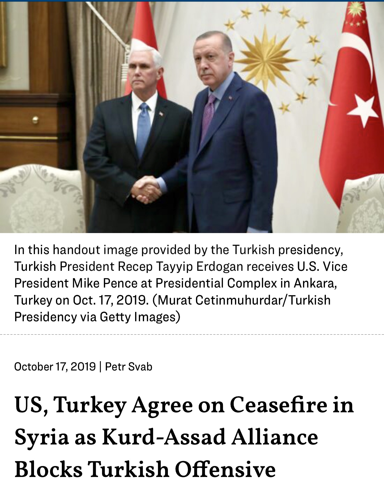 US and Turkey Agree on Ceasefire in Syria