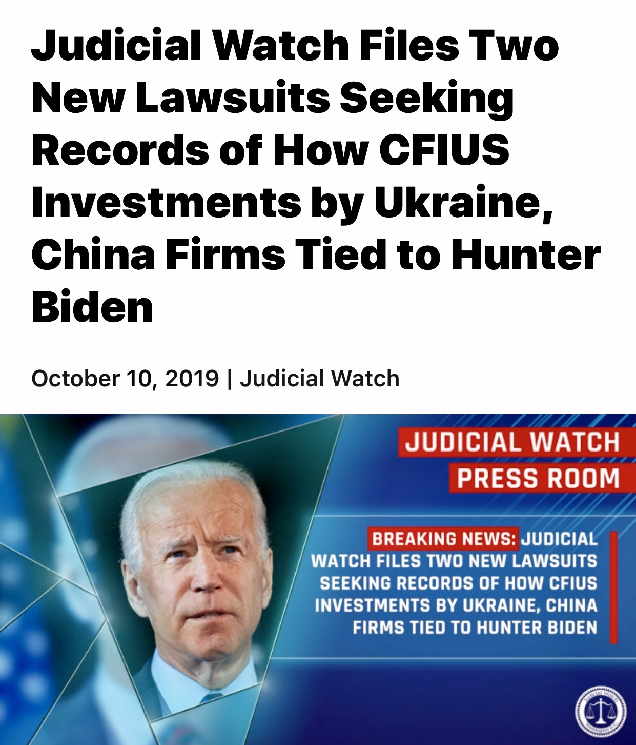 Judicial Watch Files 2  Lawsuits Seeking Records of How CFIUS Investments by Ukraine, China Firms Tied to Hunter Biden