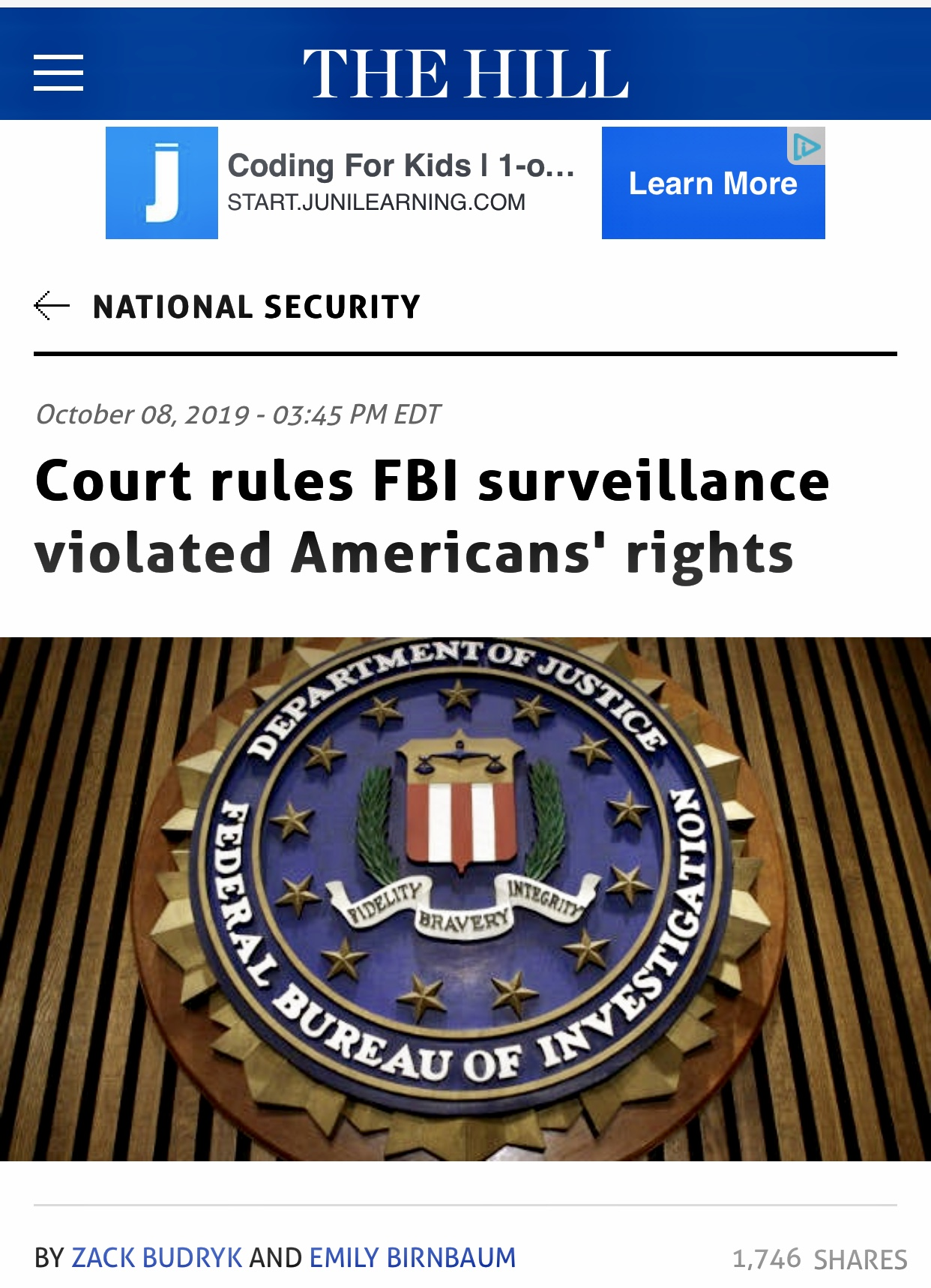 Court rules FBI surveillance violated Americans' rights