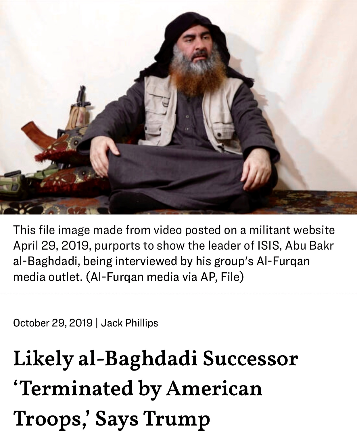 Al-Baghdadi Successor Terminated by American Troops