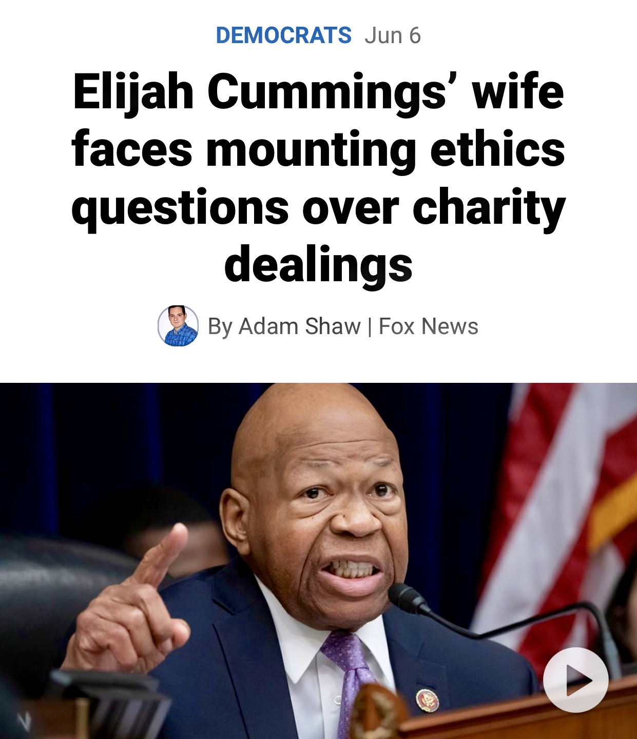 The Late Elijah Cummings Wife Faces Questions over Charity Dealings