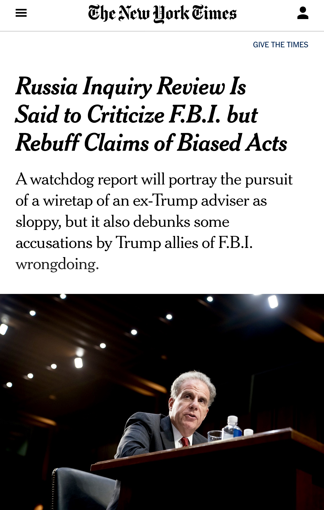 ‪NYTimes IG Horowitz Will Criticize FBI But Rebuff Claims of Biased Acts ‬