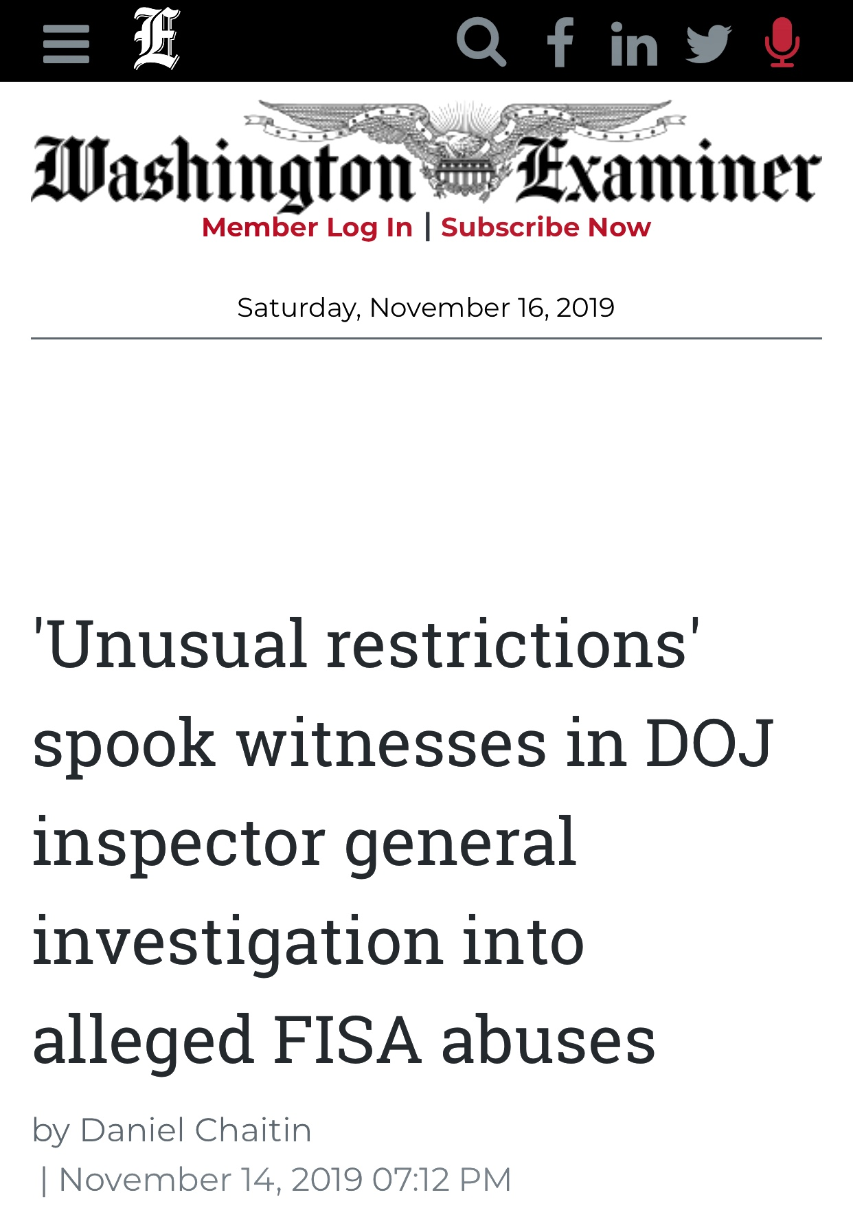 ‪IG Allowed Witnesses To Review IG Report ‬