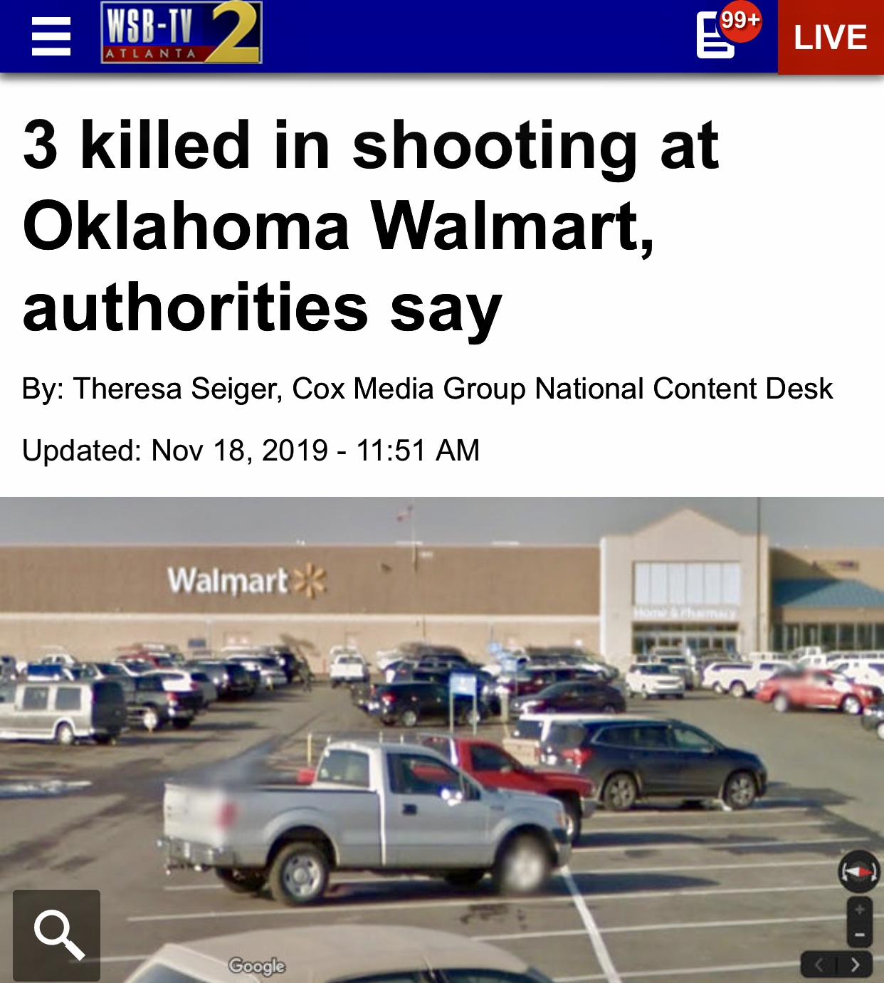 Breaking News at Least 3 People Killed At A Walmart In Oklahoma