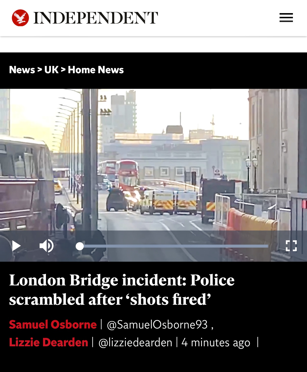 Breaking News and Update Shots Fired At London Bridge Closed to Public