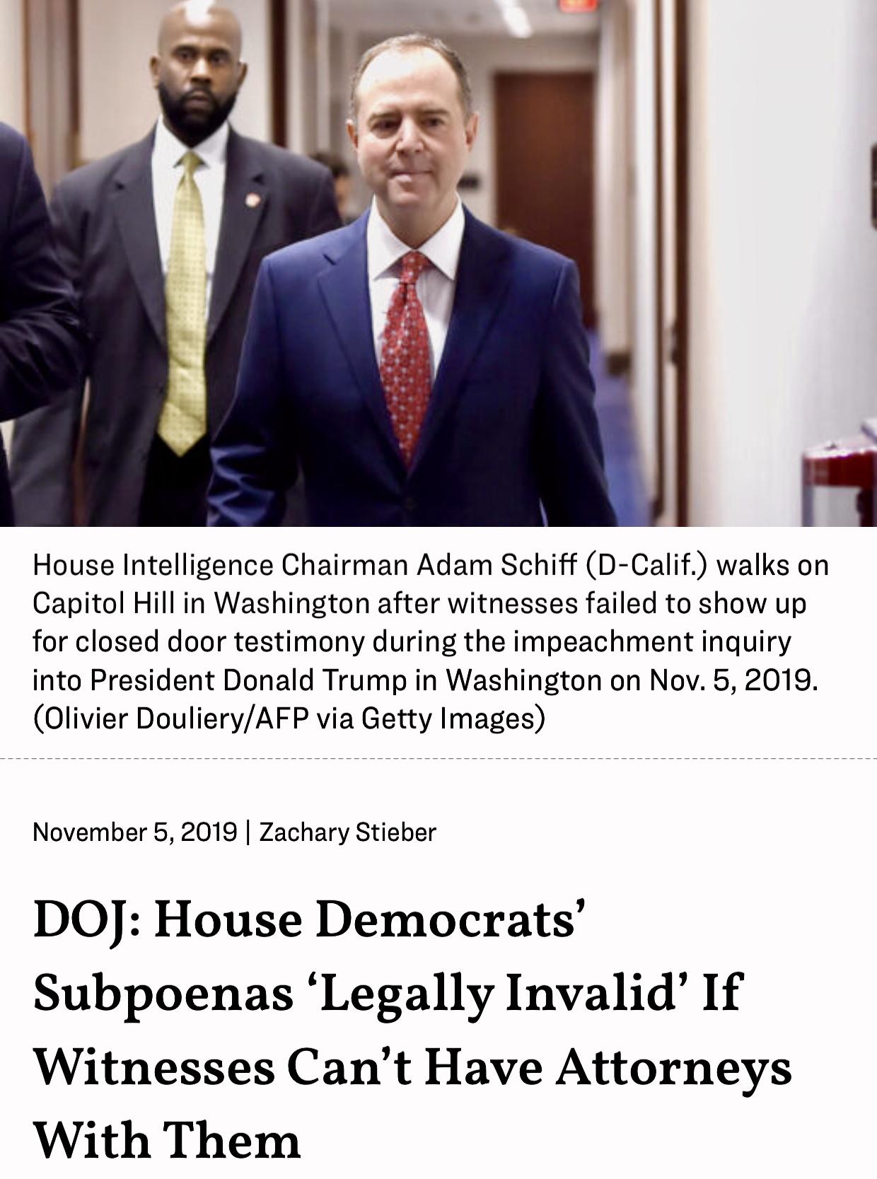 DOJ: House Democrats Subpoenas Legally Invalid