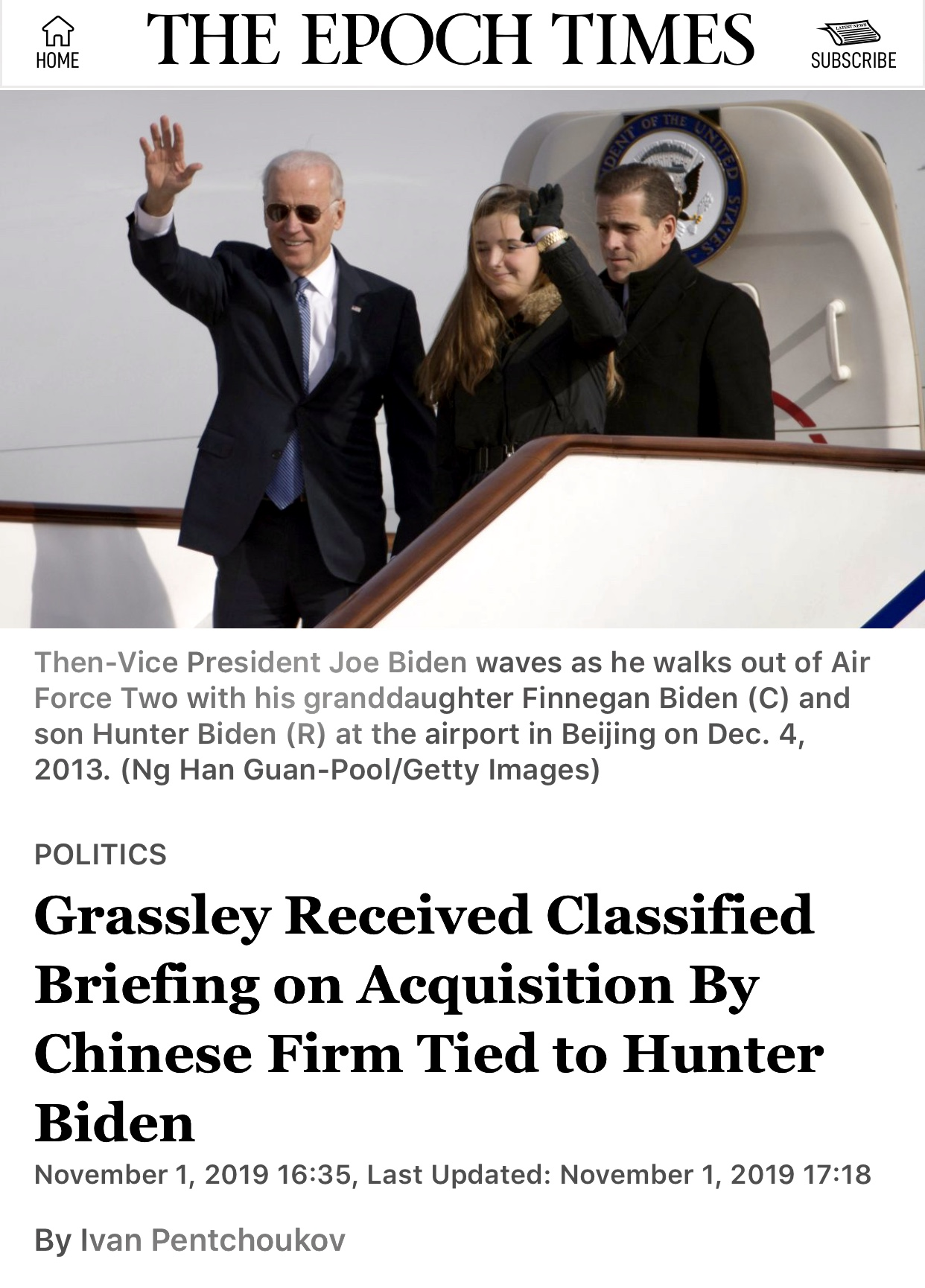 Grassley Received Classified Briefing on Acquisition By Chinese Firm Tied to Hunter Biden