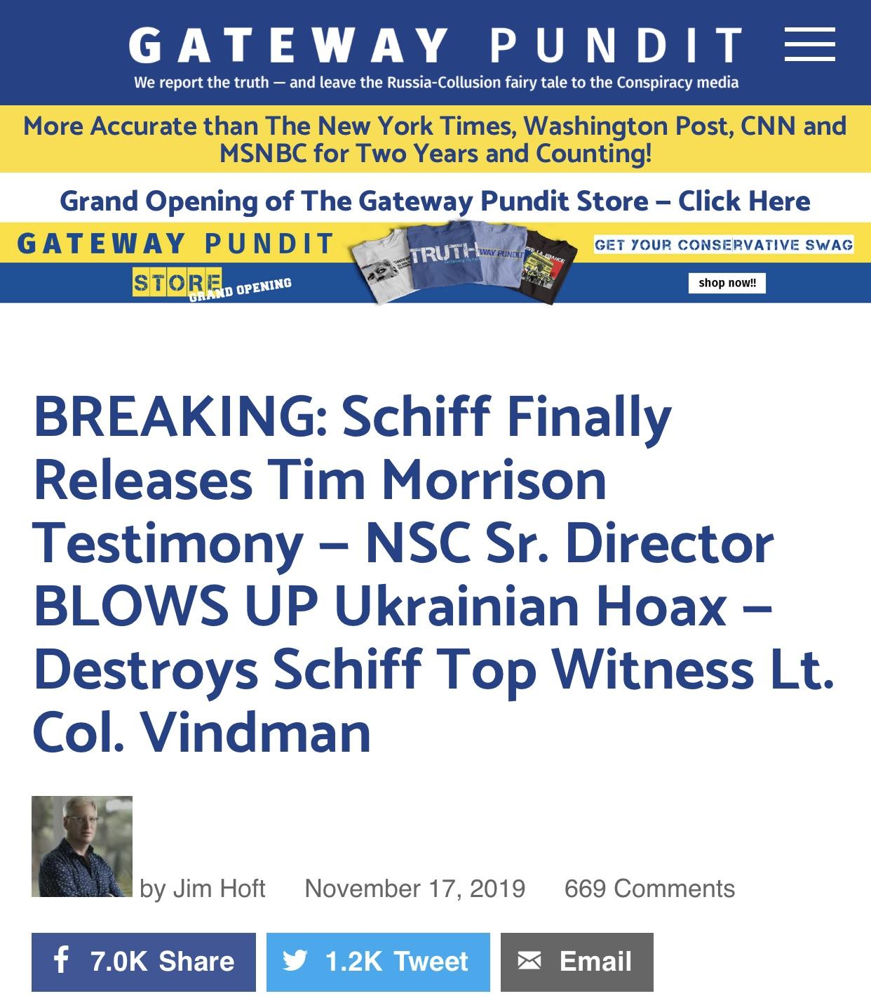 BREAKING: Schiff Releases Tim Morrison Testimony — NSC Sr. Director BLOWS UP Ukrainian Hoax — Destroys Schiff Top Witness Lt. Col. Vindman