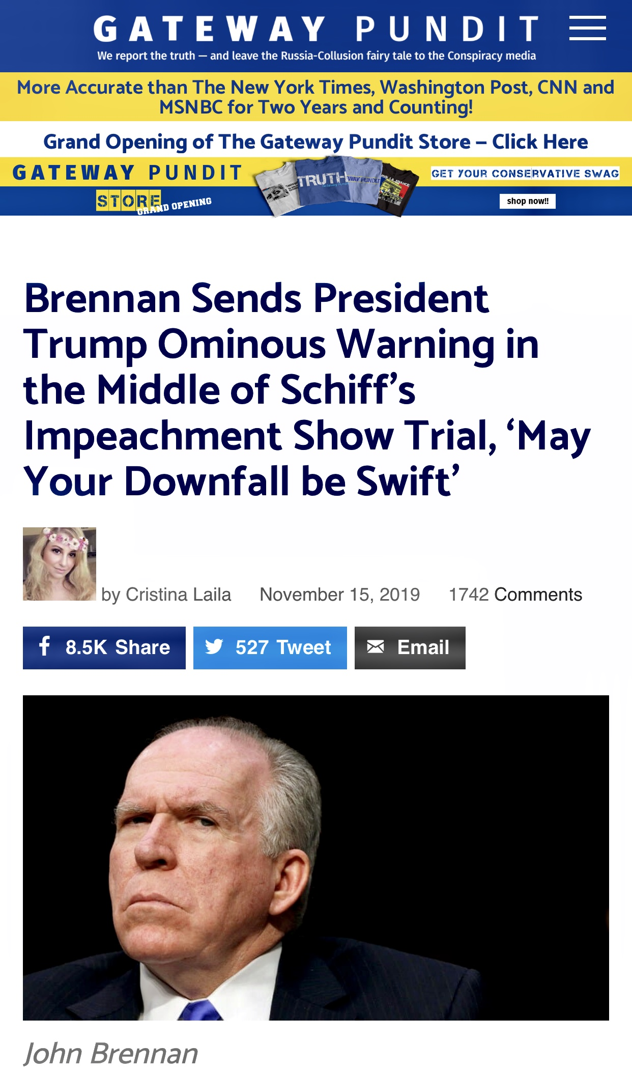 Brennan Sends President Trump Ominous Warning (Threat)