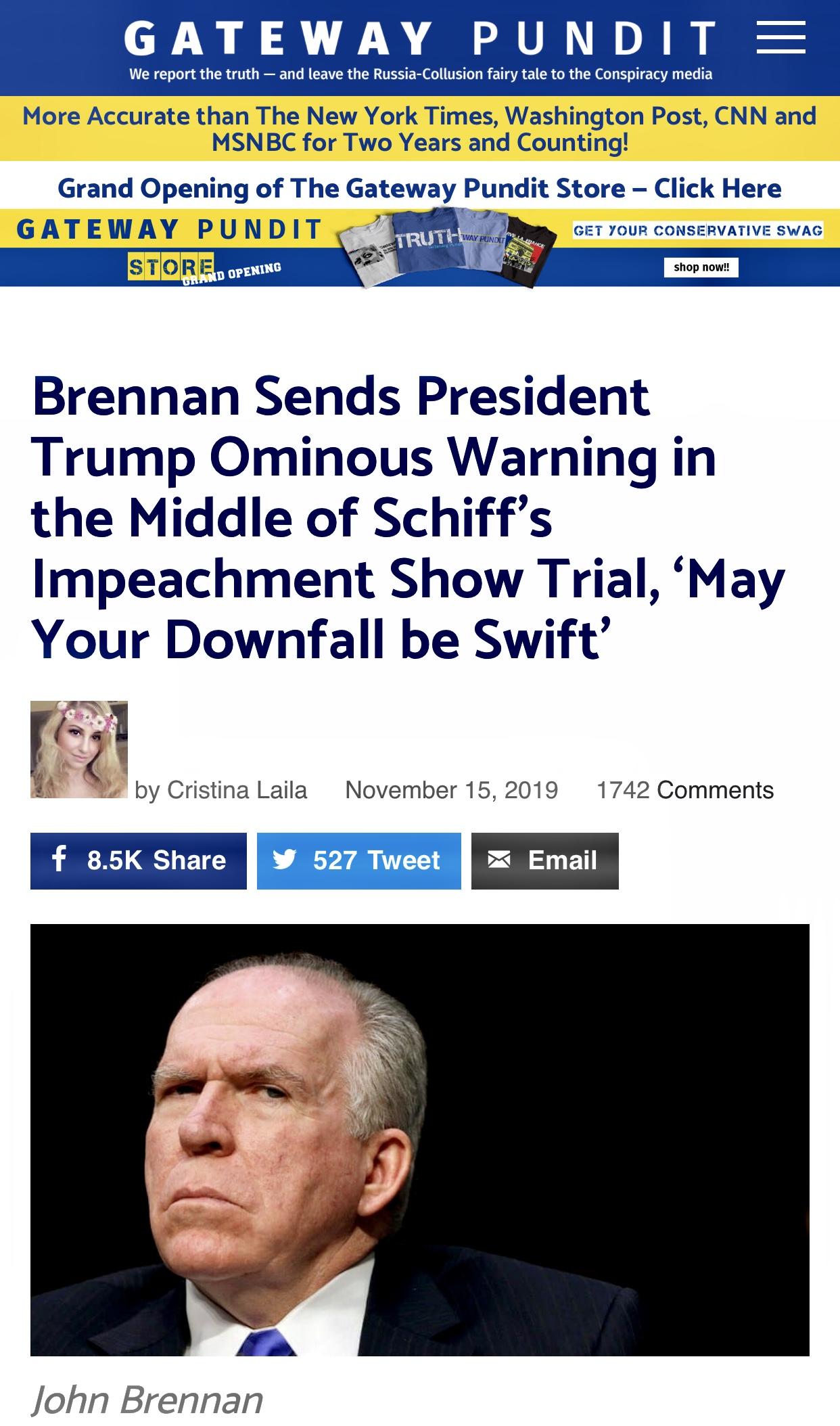 Brennan Sends President Trump Ominous Warning (Threat)