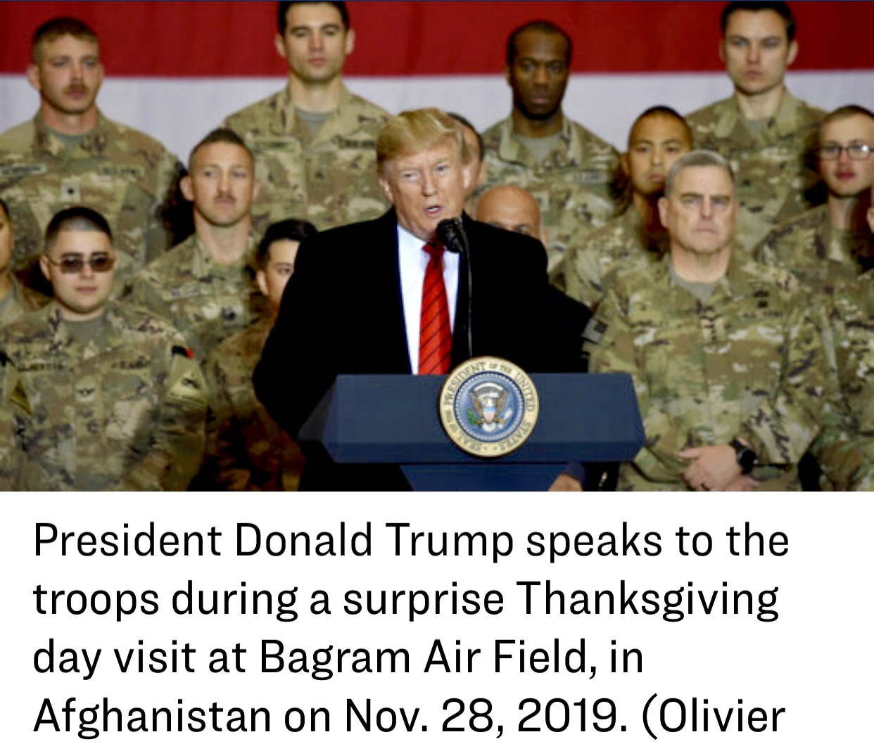 President Trump Visits With Troops in Afghanistan On Thanksgiving Day