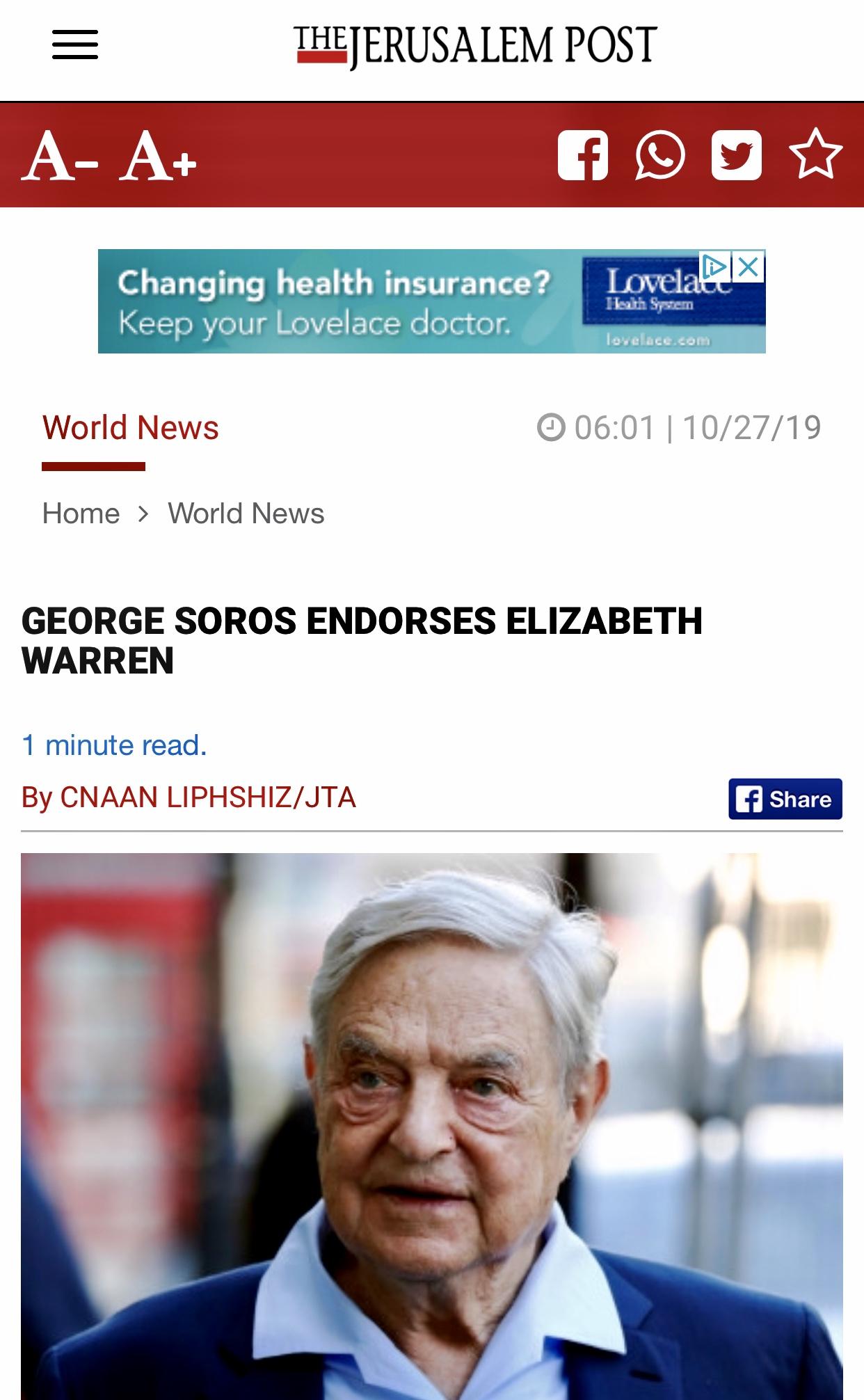 Soros Endorses Elizabeth Warren