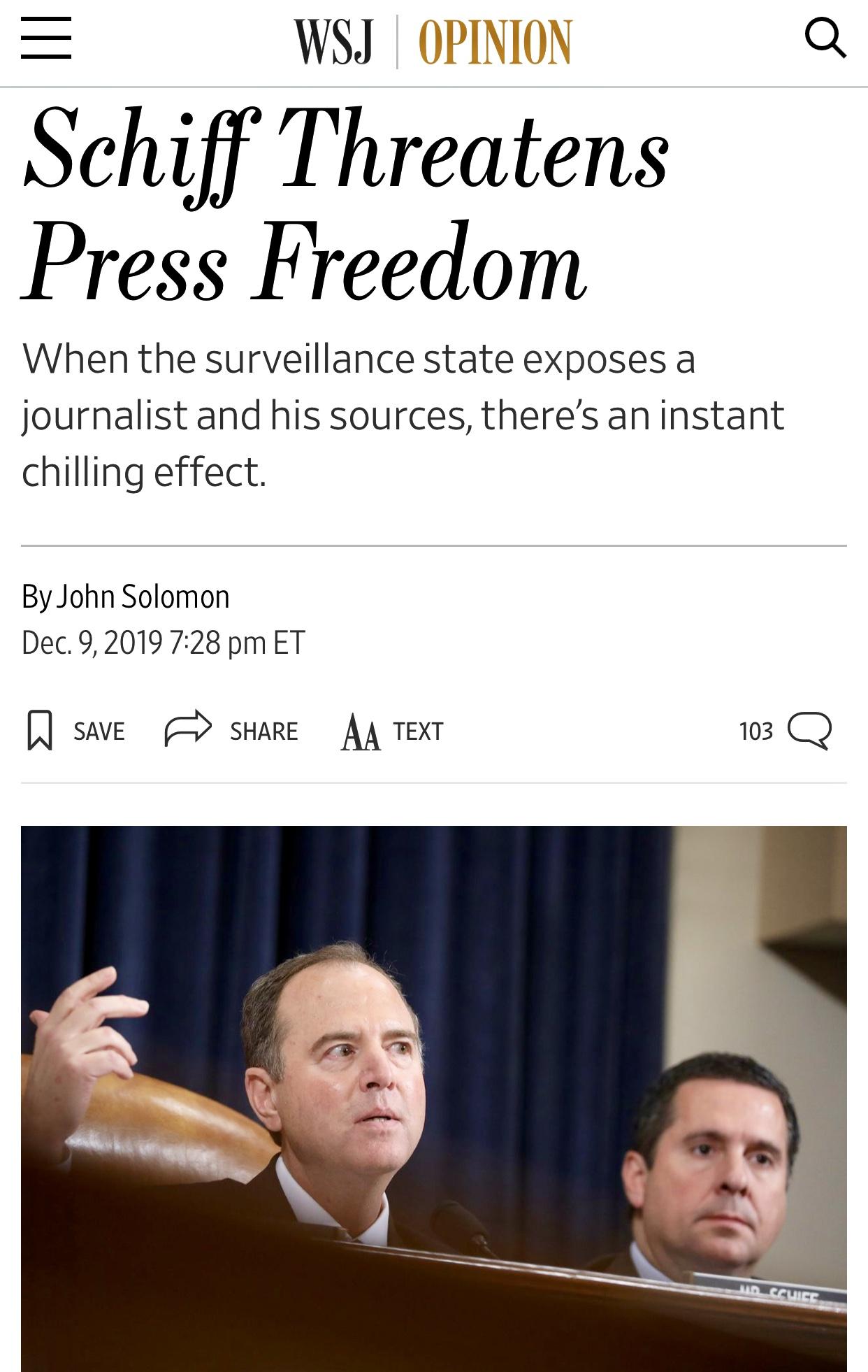 Schiff Threatens Press Freedom