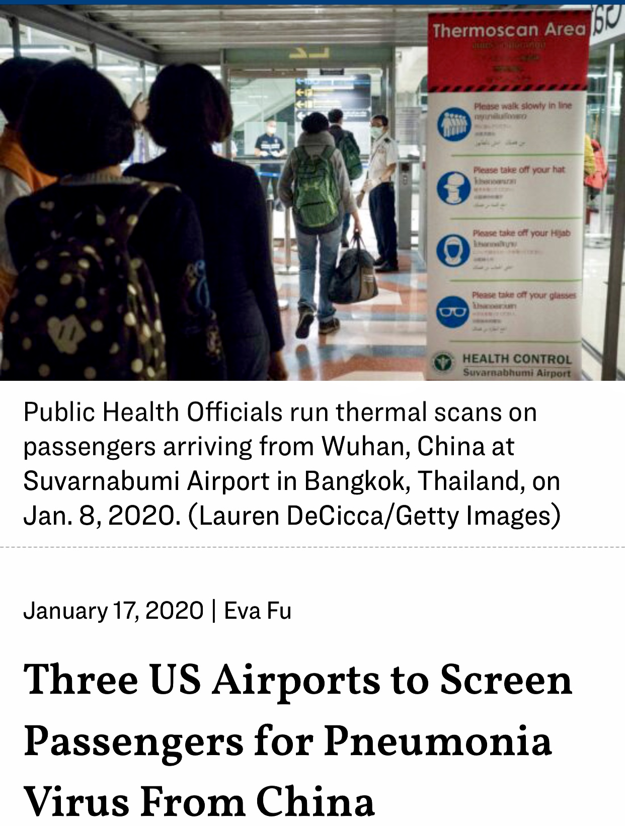 Three US Airports Screen Passengers for Pneumonia Virus From China