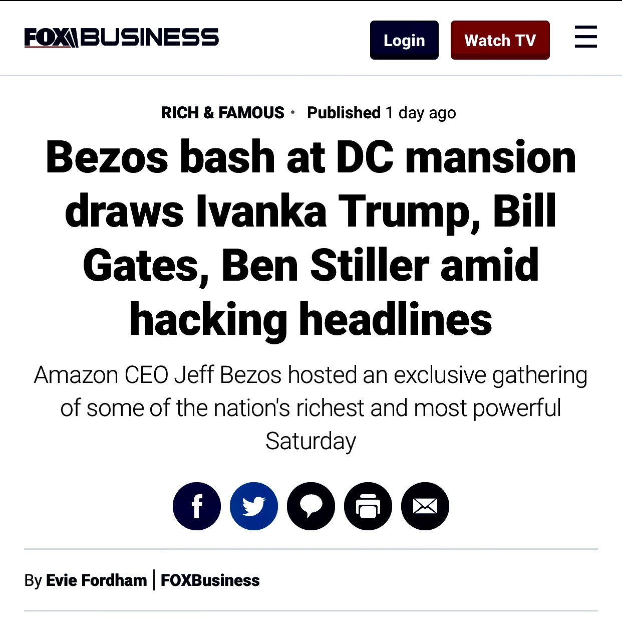 Bezos Bash at DC Mansion Attended by Ivanka Trump, Bill Gates, Ben Stiller amid hacking headlines | Fox Business