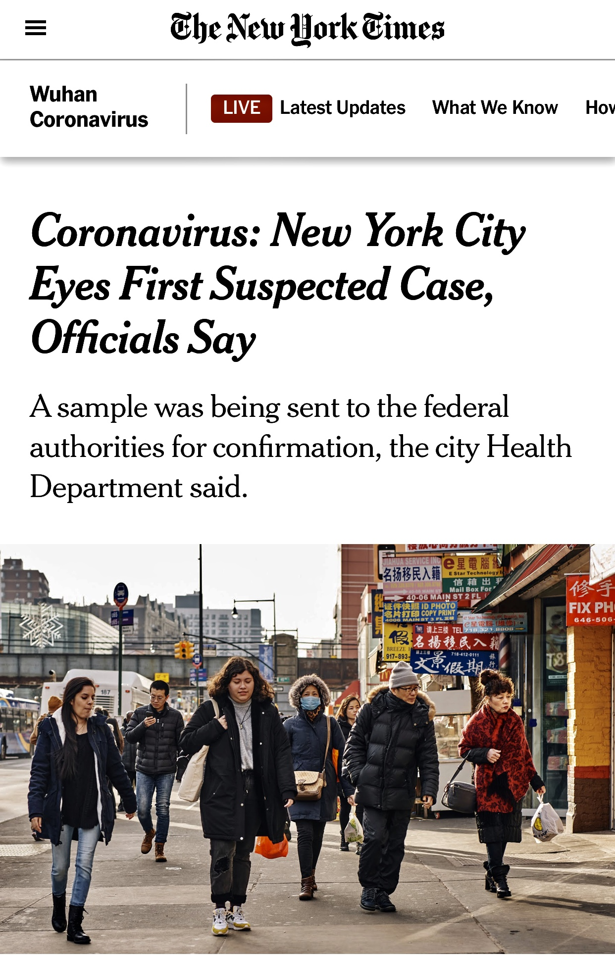 Coronavirus: Possible 1st New York City Case and Not Prepared