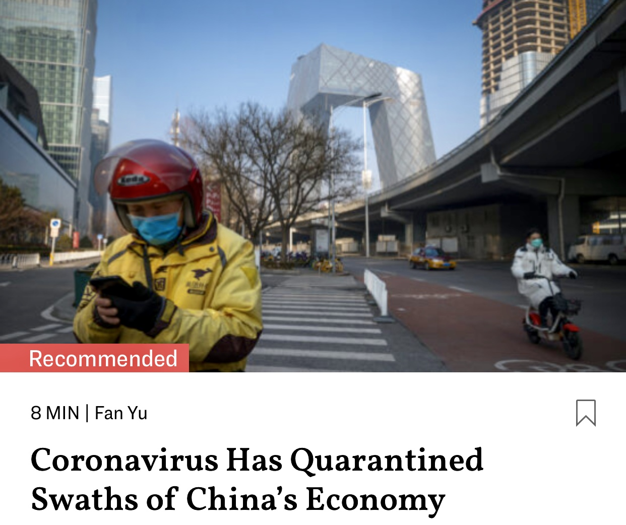 Coronavirus Has Quarantined Swaths of China's Economy