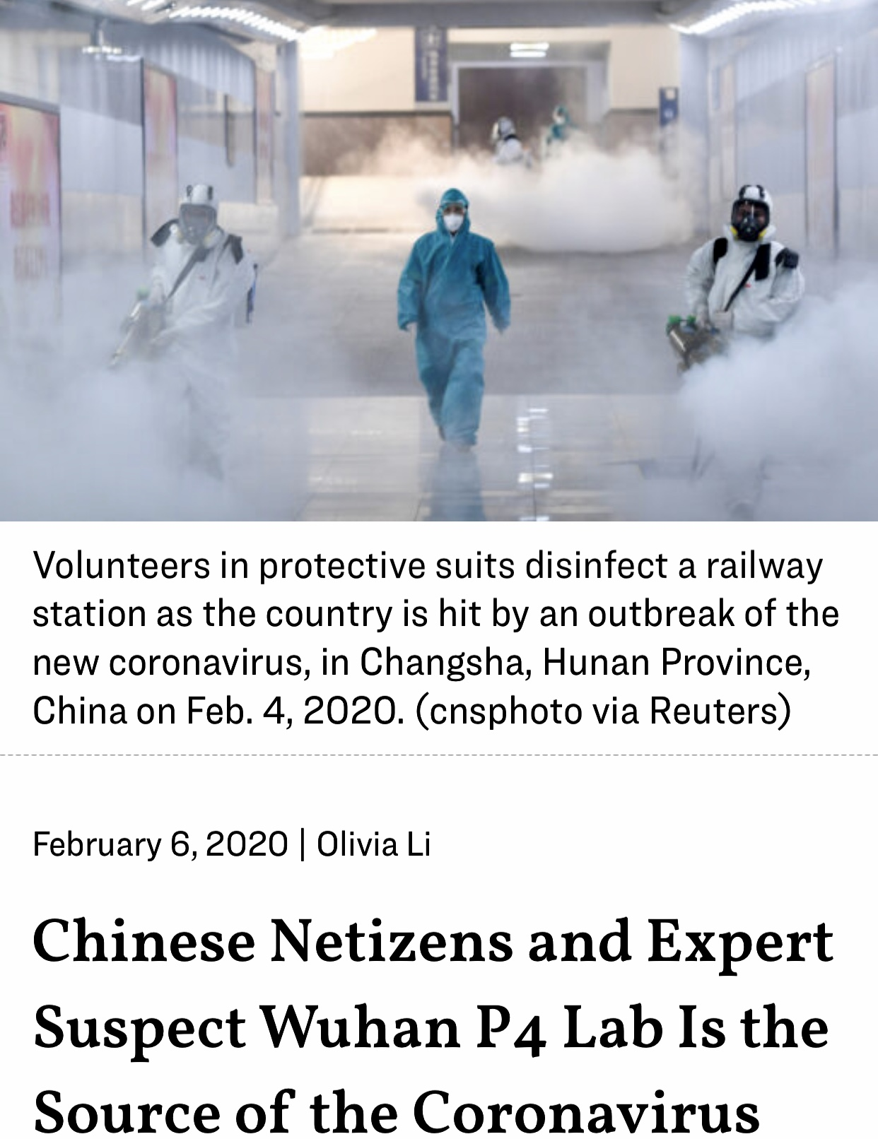 Chinese Netizens and Expert Suspect Wuhan P4 Lab Is the Source of the Coronavirus