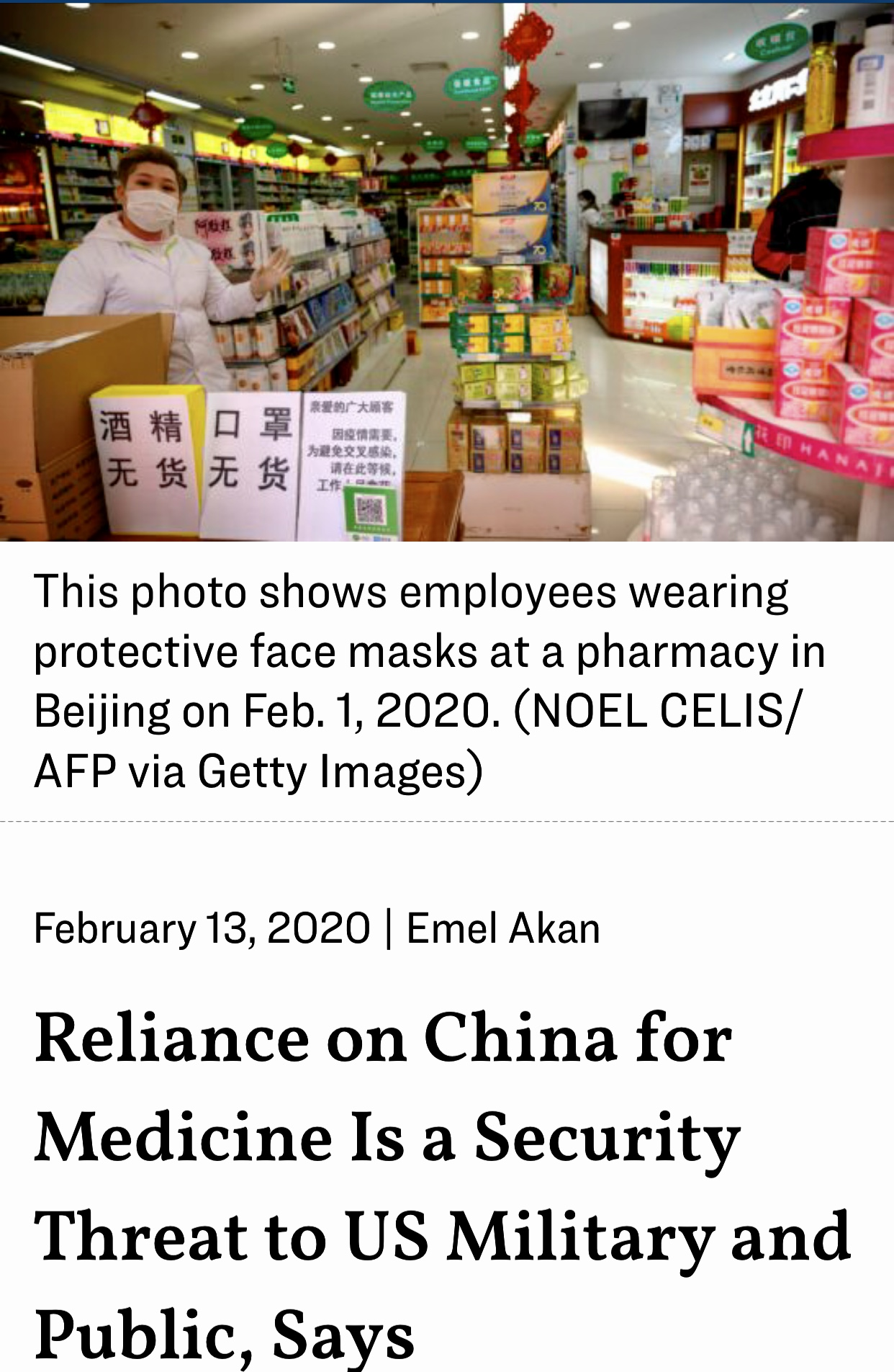 Reliance on China for Medicine Is a Security Threat to US Military and Public