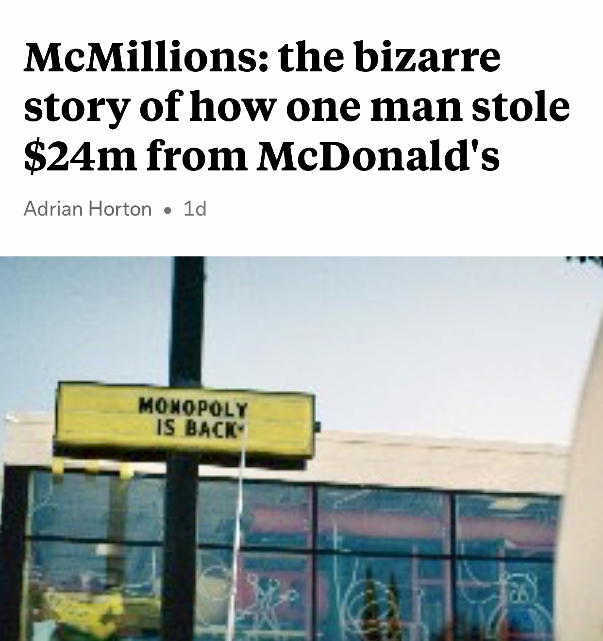 McMillions: How one man stole $24m from McDonald's